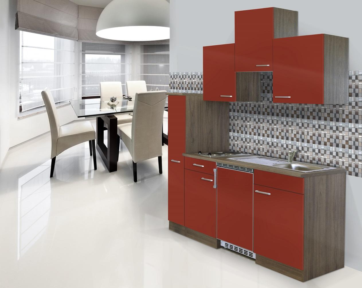 respekta Küche Singleküche Küchenzeile Einbau Küchenblock 180 cm Eiche York rot