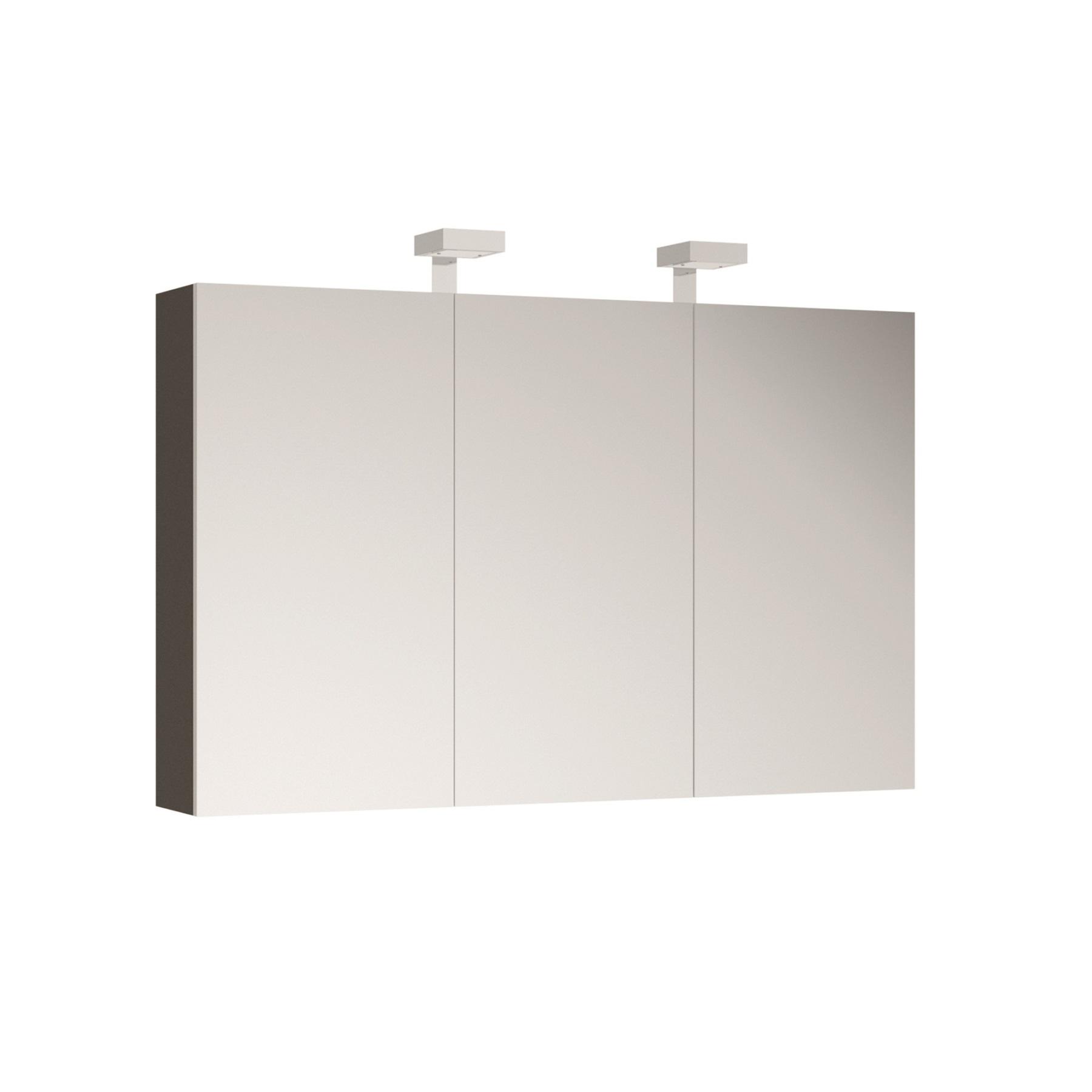 ALLIBERT Spiegelschrank Spiegel Badmöbel vormontiert grau Glanz 120 cm LED