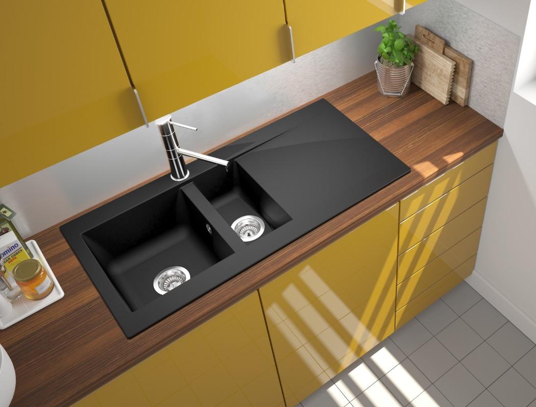 respekta Spüle Küchenspüle Einbauspüle Mineralite Spülbecken 100 x 50 schwarz