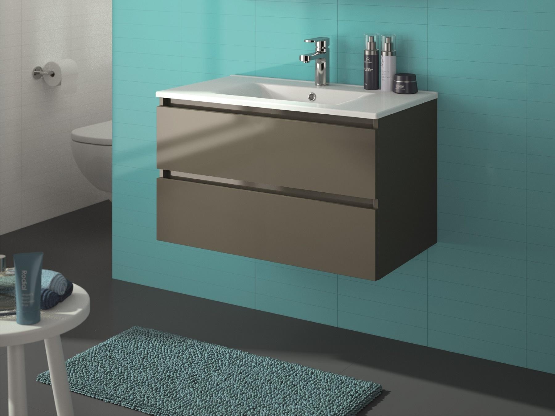 ALLIBERT Badmöbel-Set Badmöbel vormontiert grau Glanz Softclose Waschtisch 80 cm