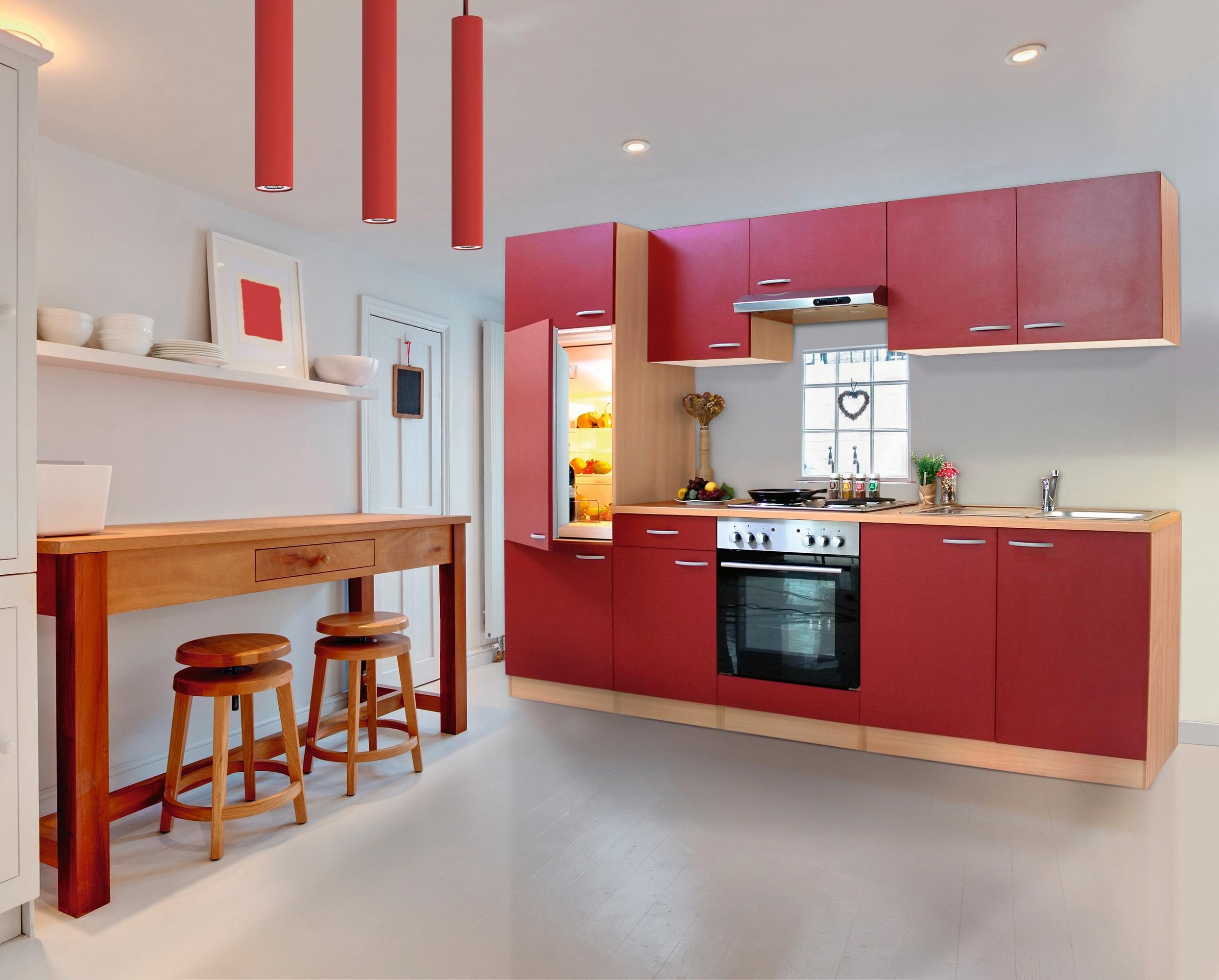 respekta Küche Küchenzeile Küchenblock Einbauküche Komplettküche 270cm Buche rot