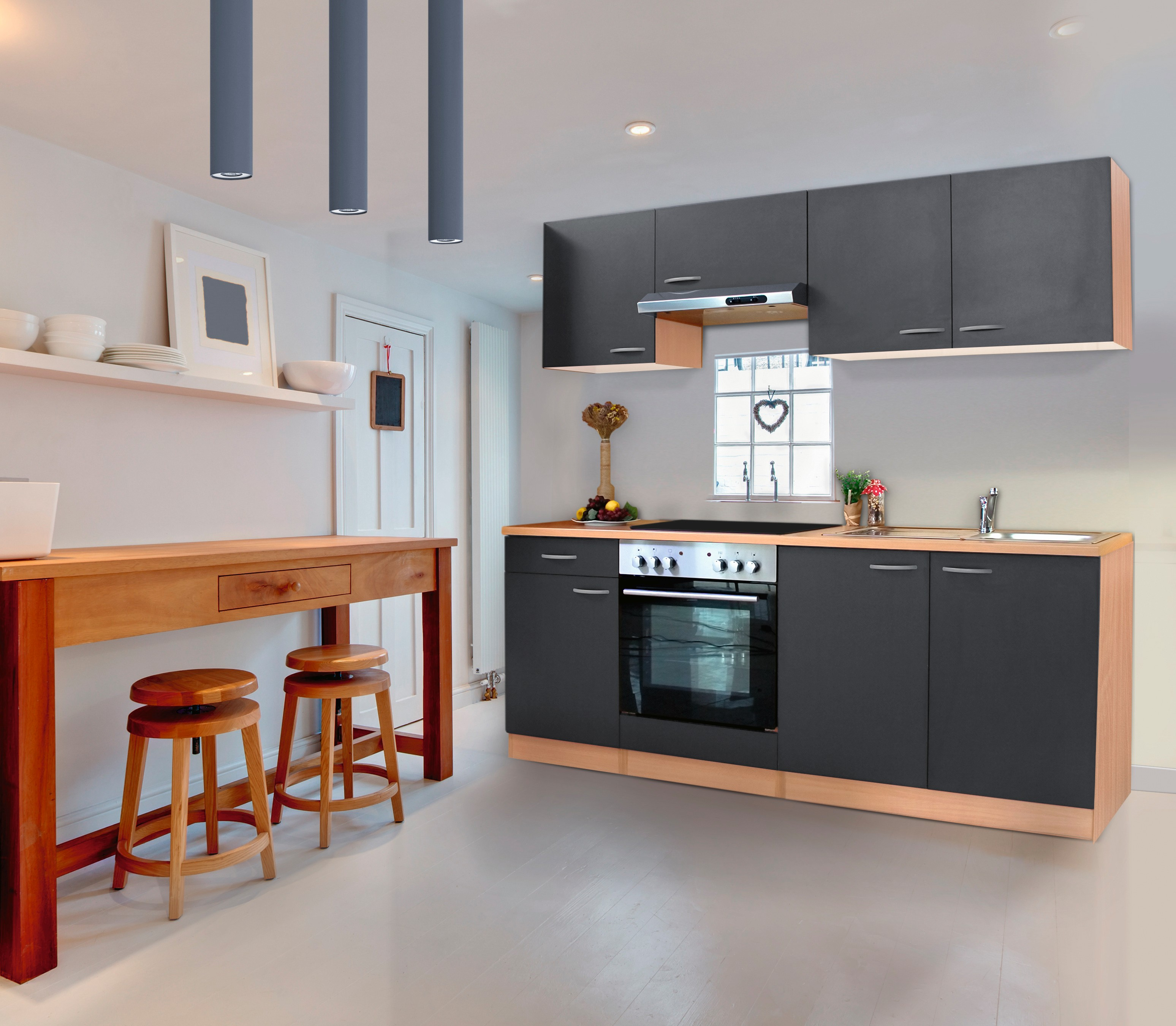 respekta Küche Küchenzeile Einbauküche Küchenblock Komplett 210 cm Buche grau