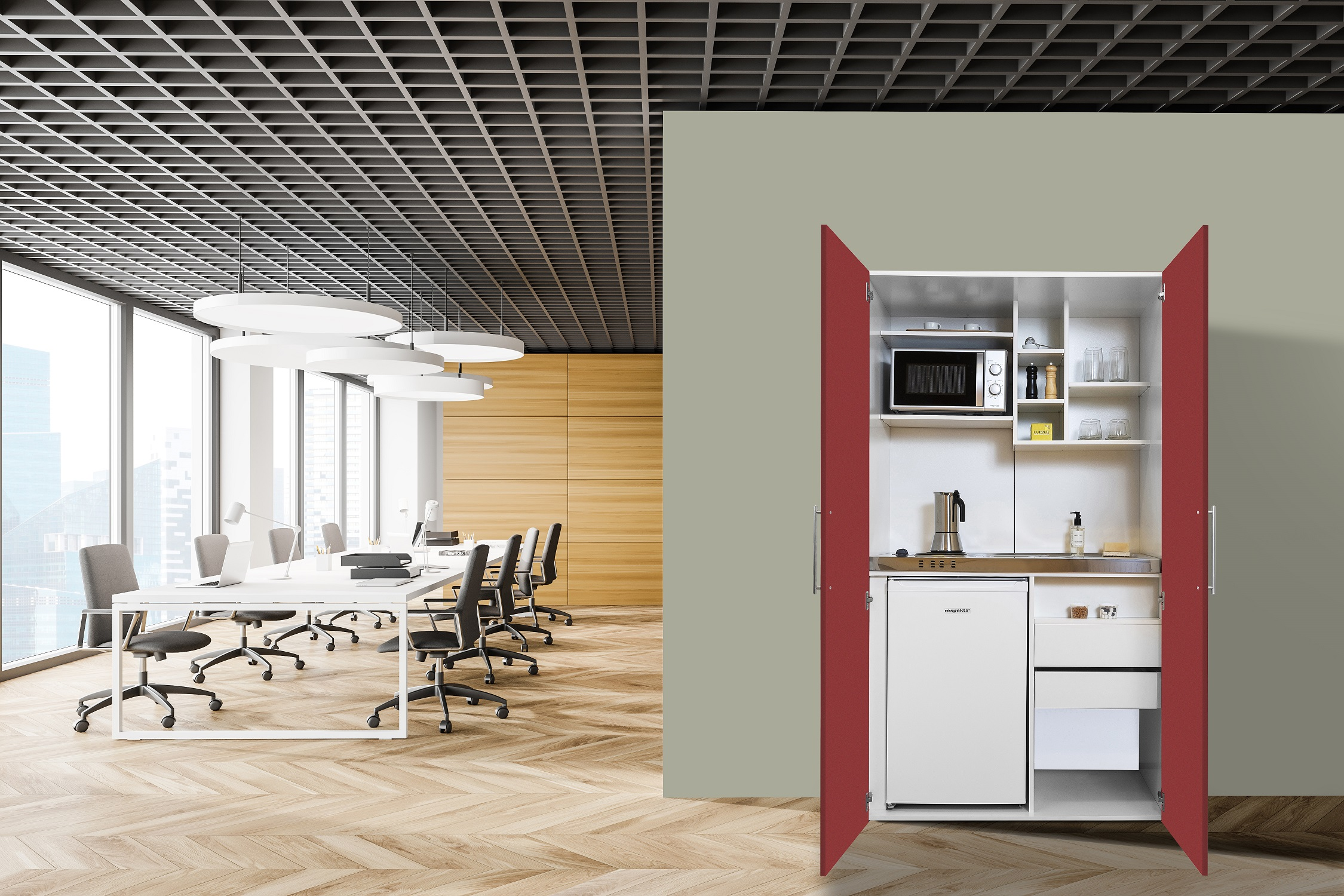 respekta Schrankküche Küche Miniküche Küchenzeile Pantry Küchenblock weiß rot