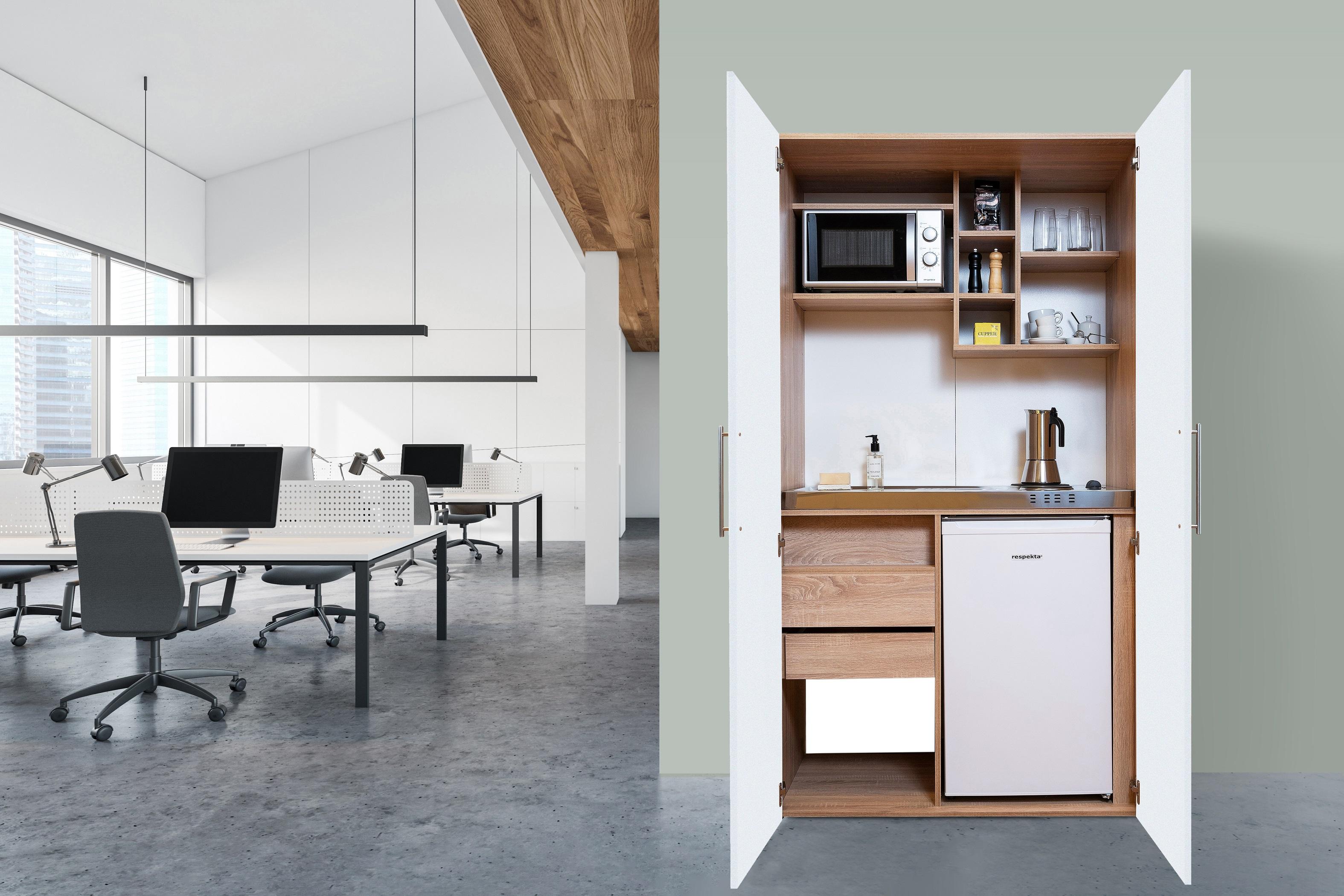 respekta Schrankküche Küche Miniküche Küchenzeile Büro Küchenblock Eiche weiß