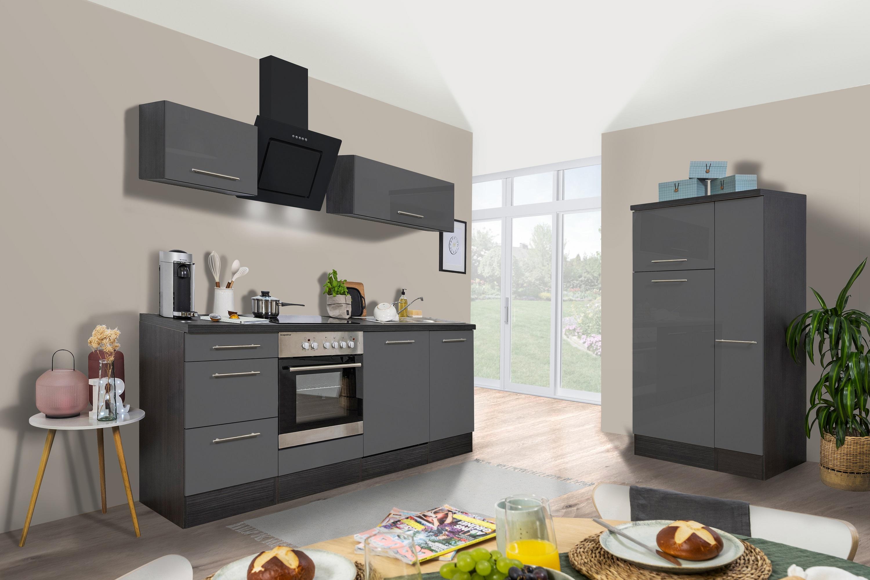 respekta Küchenzeile Küche Küchenblock Einbauküche Hochglanz 310 cm Eiche grau