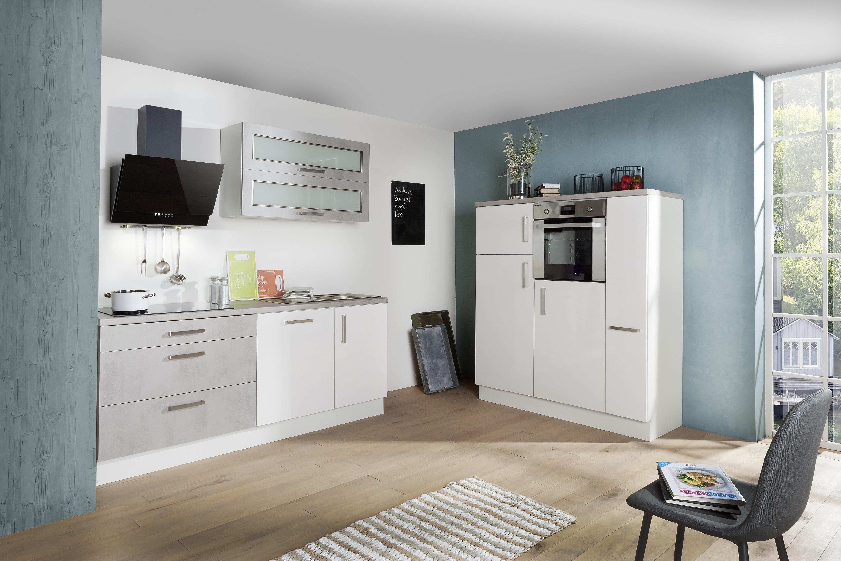 respekta Küche Küchenzeile Küchenblock Einbauküche weiß Hochglanz Beton 350 cm