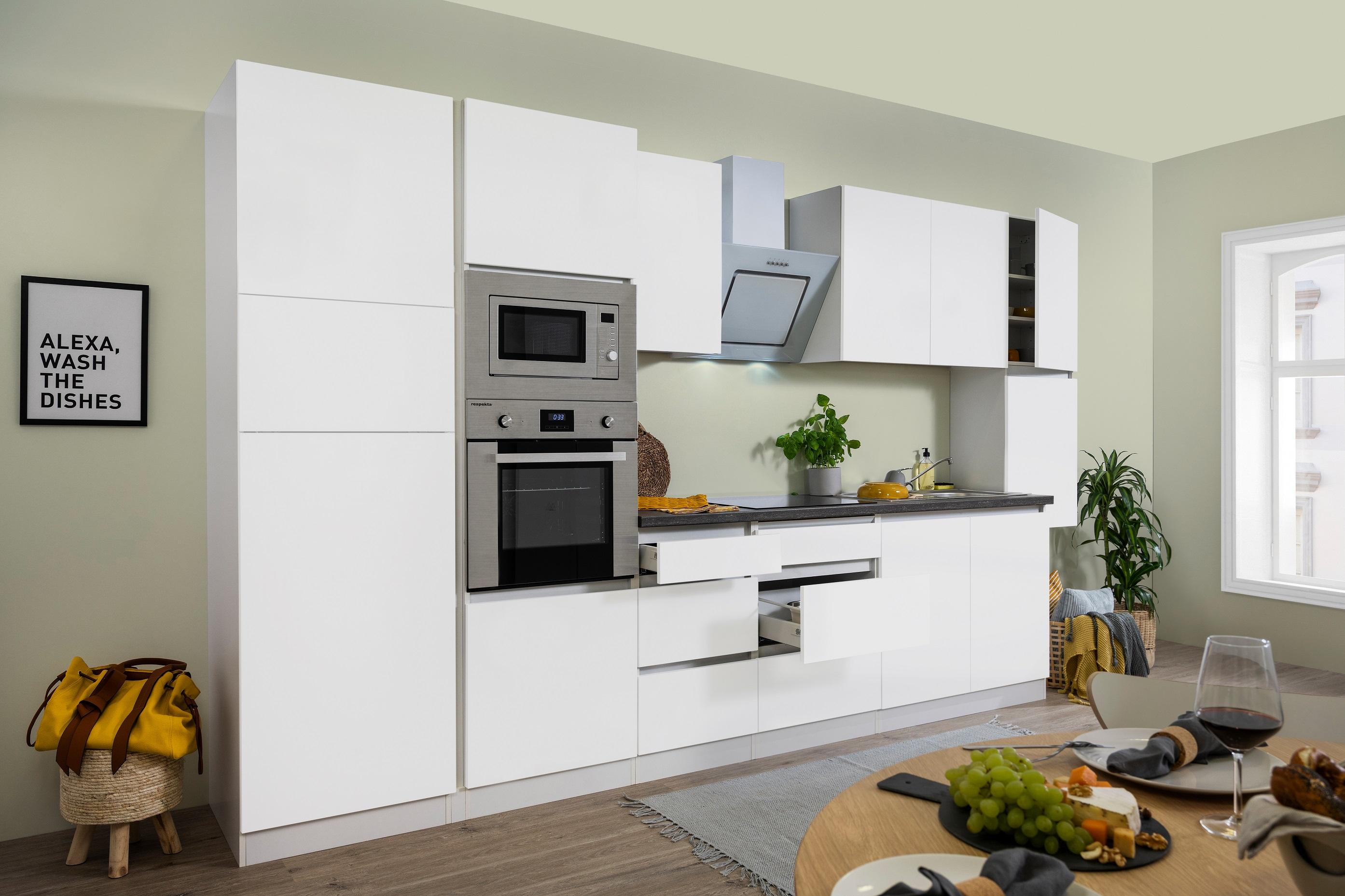 respekta Küche Küchenzeile Küchenblock grifflose Einbauküche 385 cm weiß Matt