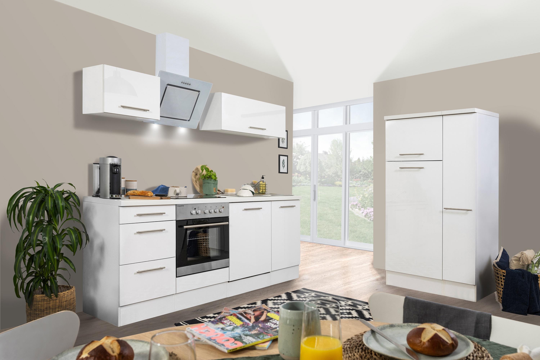 respekta Küchenzeile Küche Küchenblock Einbauküche Hochglanz Komplett 310cm weiß