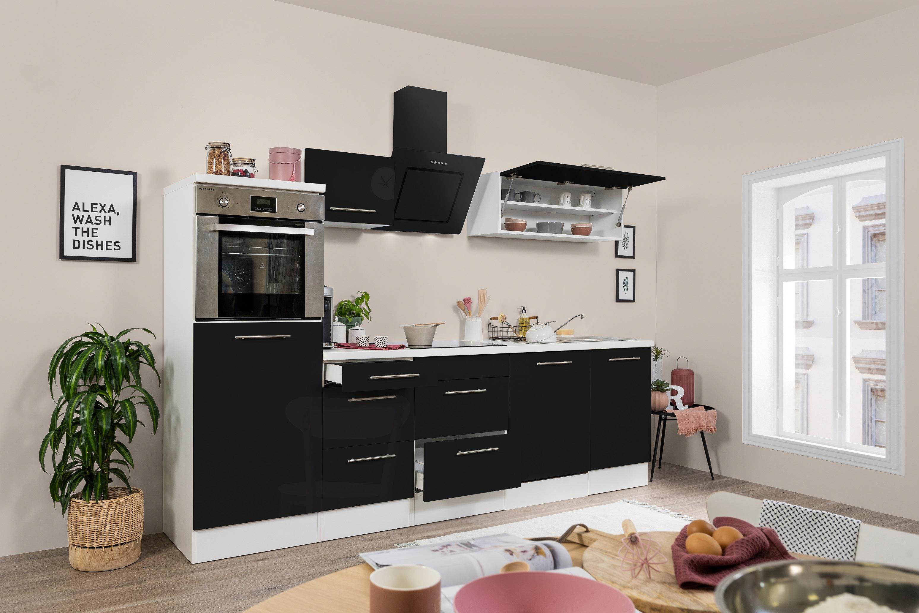 respekta Küchenzeile Küche Küchenblock Einbauküche 280cm Hochglanz weiß schwarz