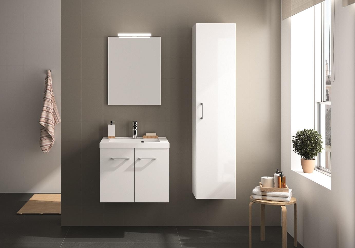 ALLIBERT Badmöbel Badmöbel-Set Badezimmermöbel Waschtisch weiß Glanz 95 cm