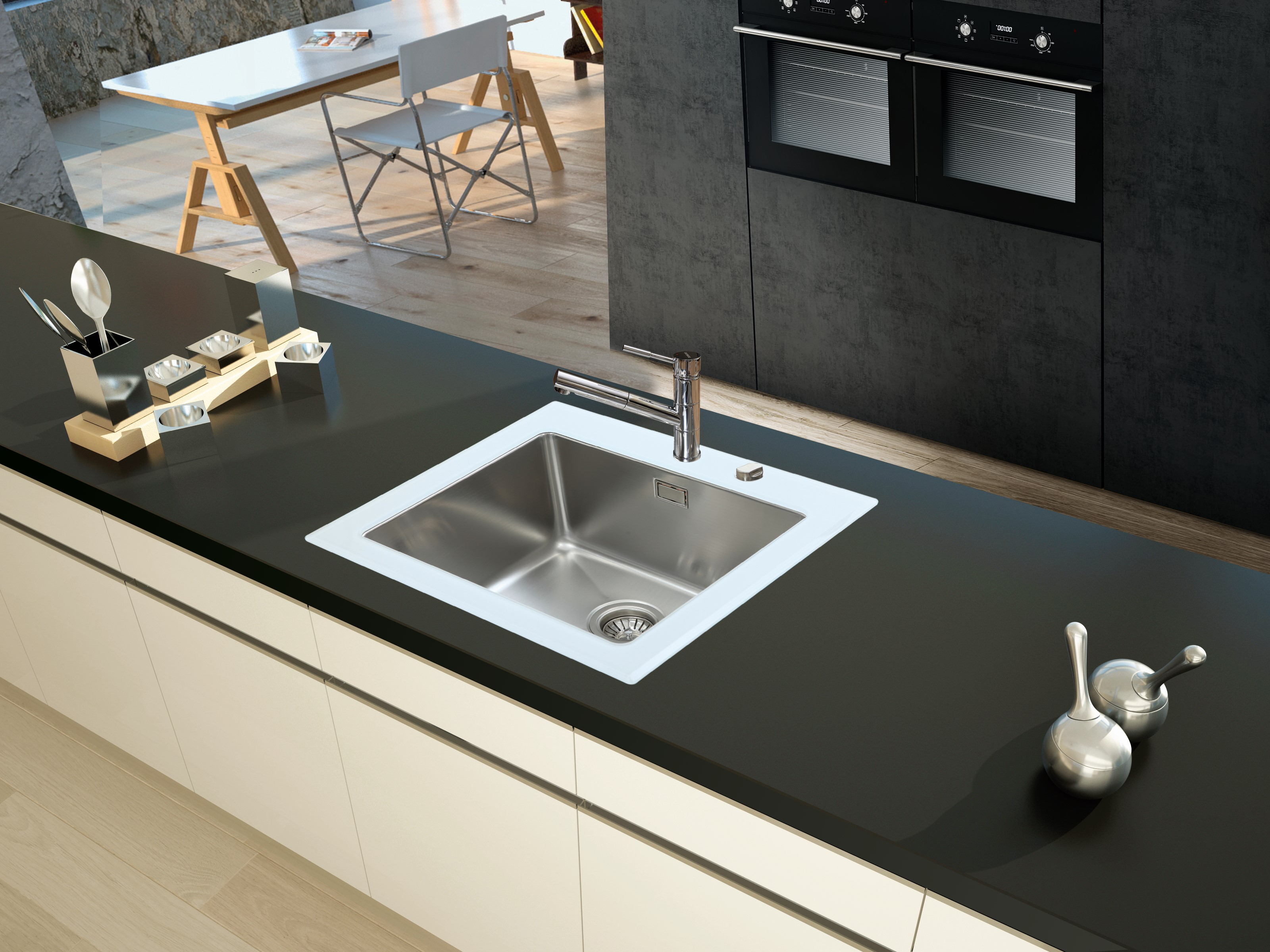 respekta Spüle Einbauspüle Glasspüle Küchenspüle Glas Edelstahl 55 x 53 weiß