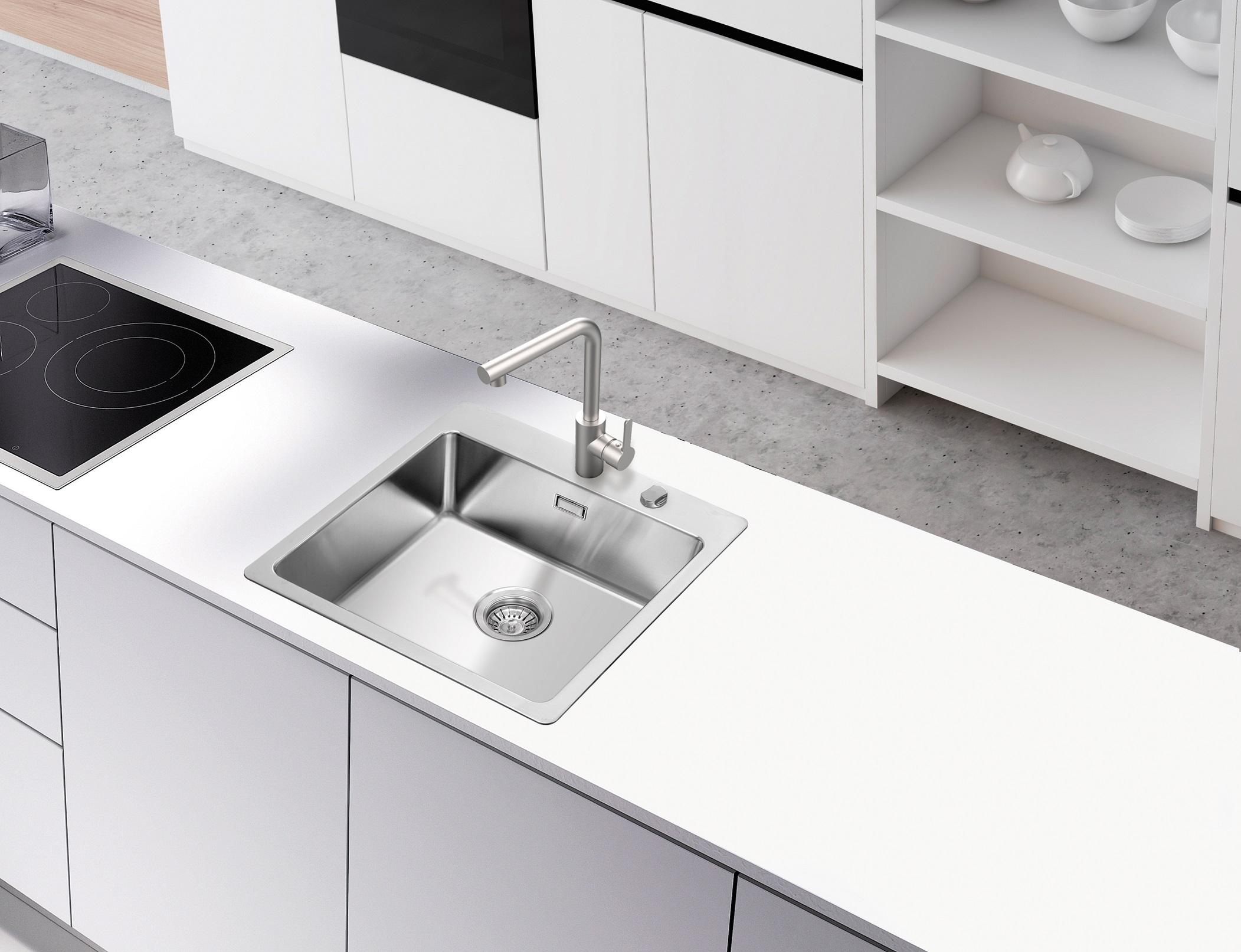 respekta Spüle Edelstahlspüle Einbauspüle Küchenspüle Spülbecken Edelstahl 50x50
