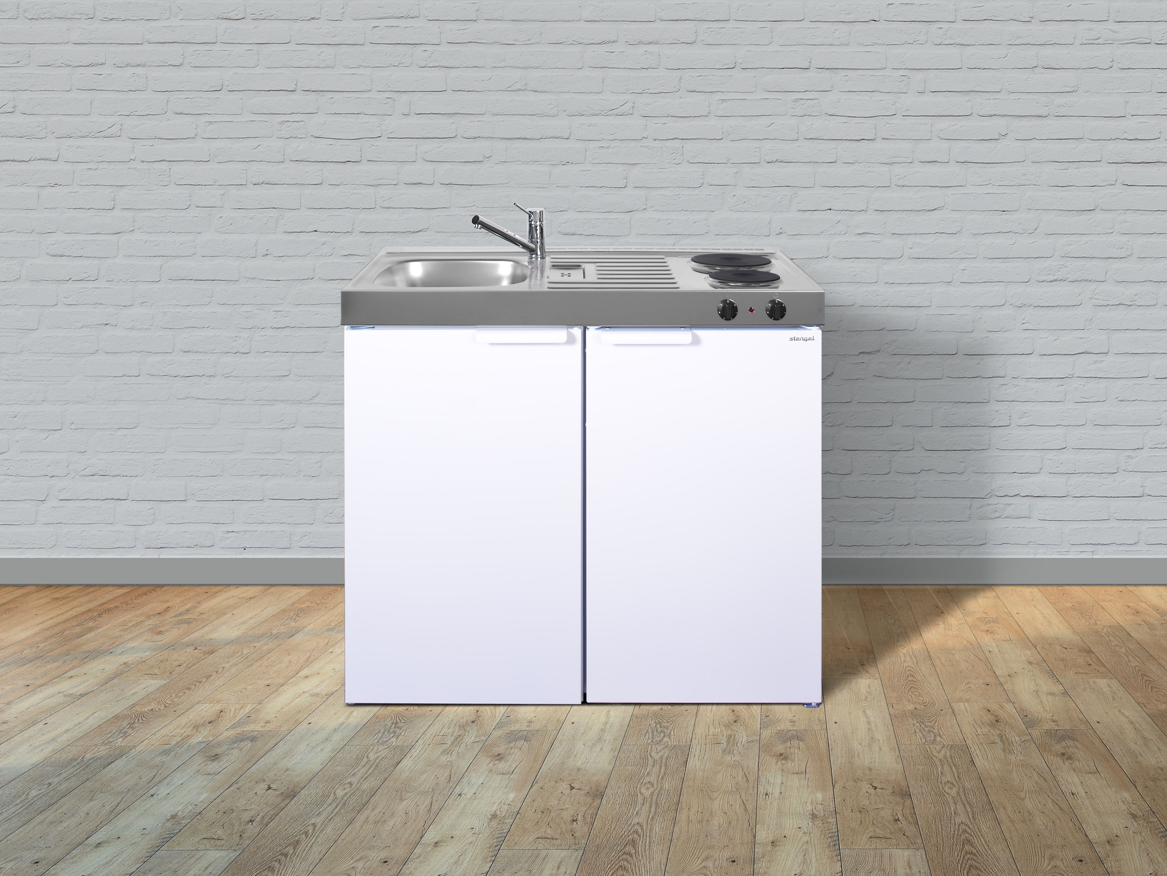 Stengel Küche Miniküche Küchenzeile Singleküche Metallküche Metall 100 cm weiss
