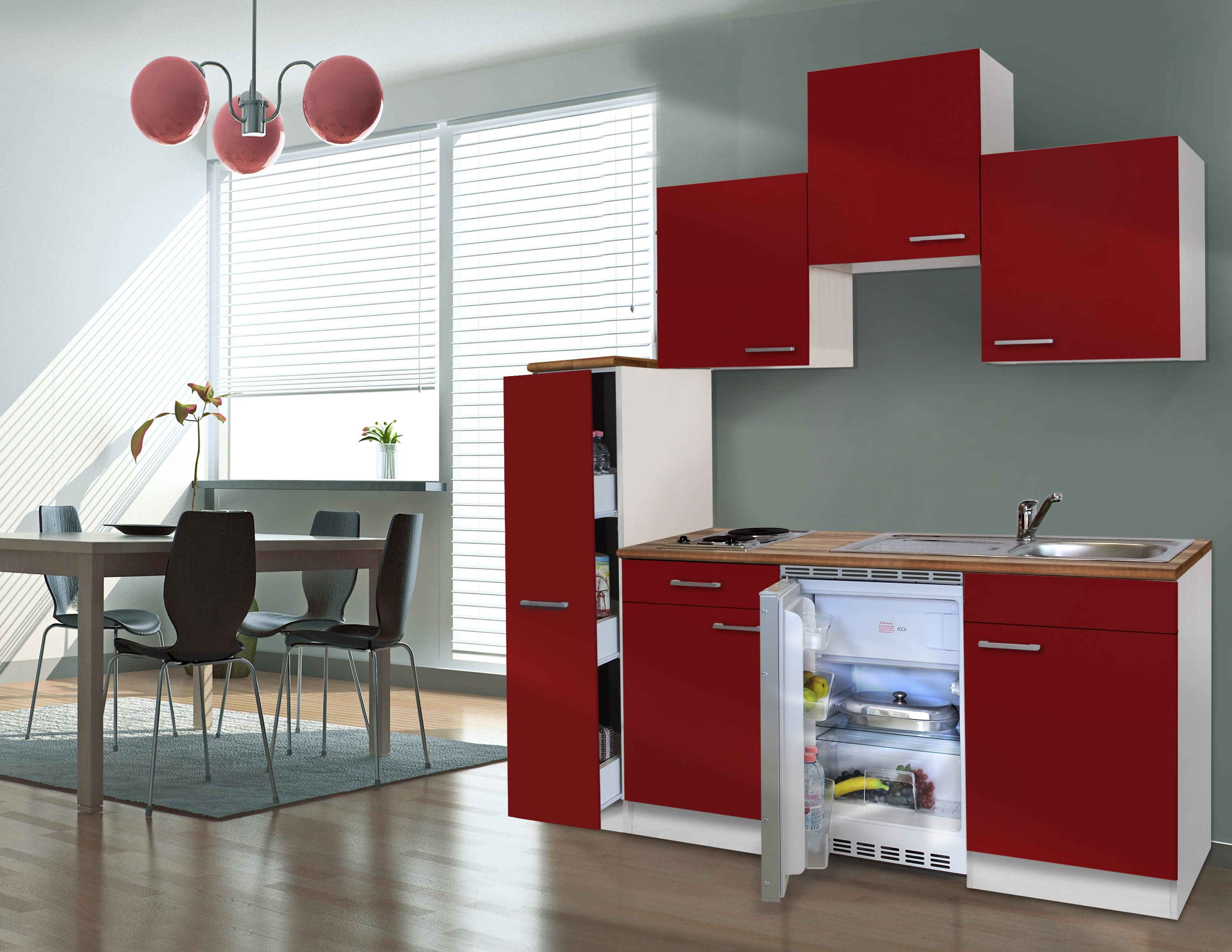 respekta Küche Singleküche Küchenzeile Küchenblock Miniküche 180 cm weiß rot