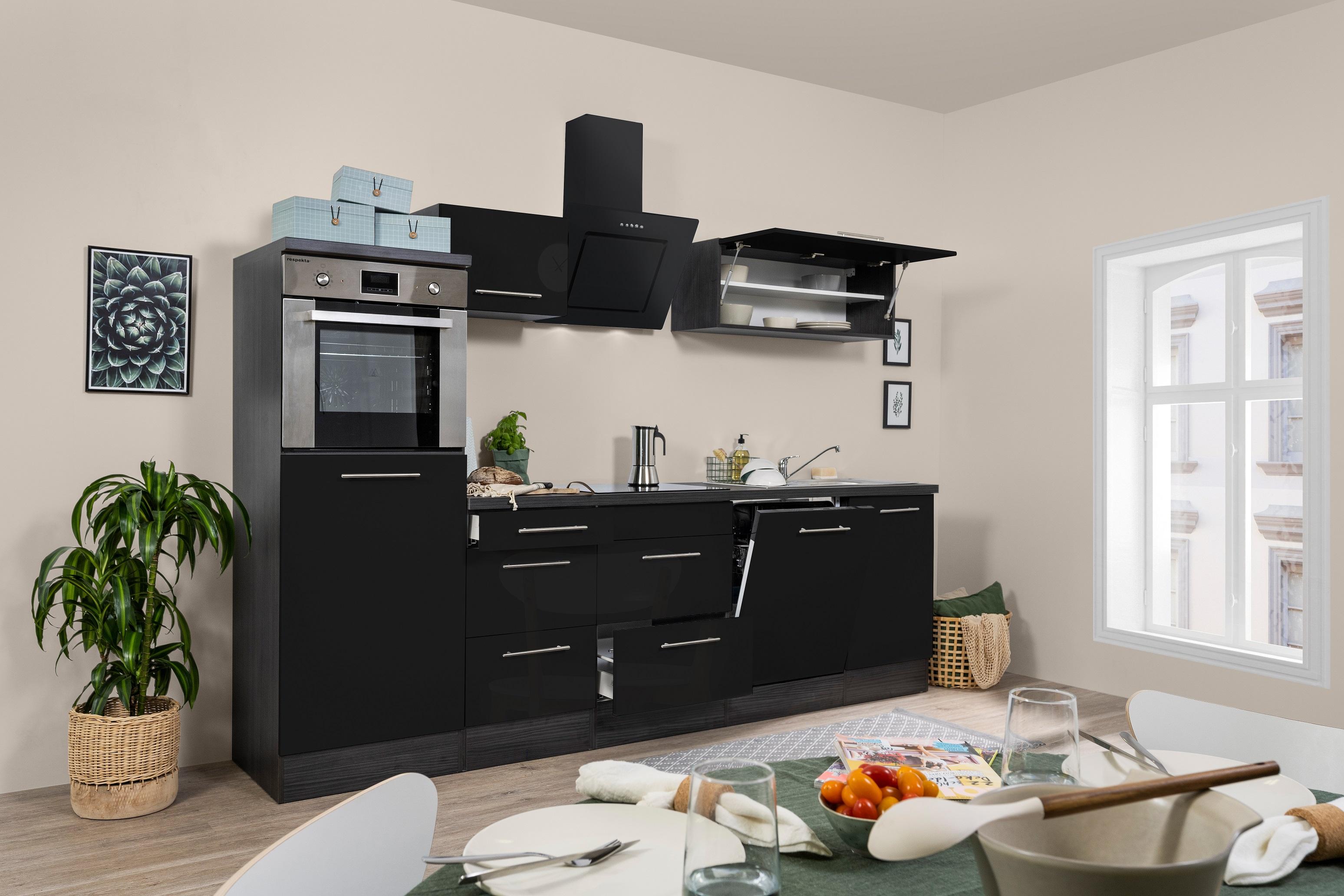 respekta Küchenzeile Küche Küchenblock Einbauküche 280cm Hochglanz Eiche schwarz