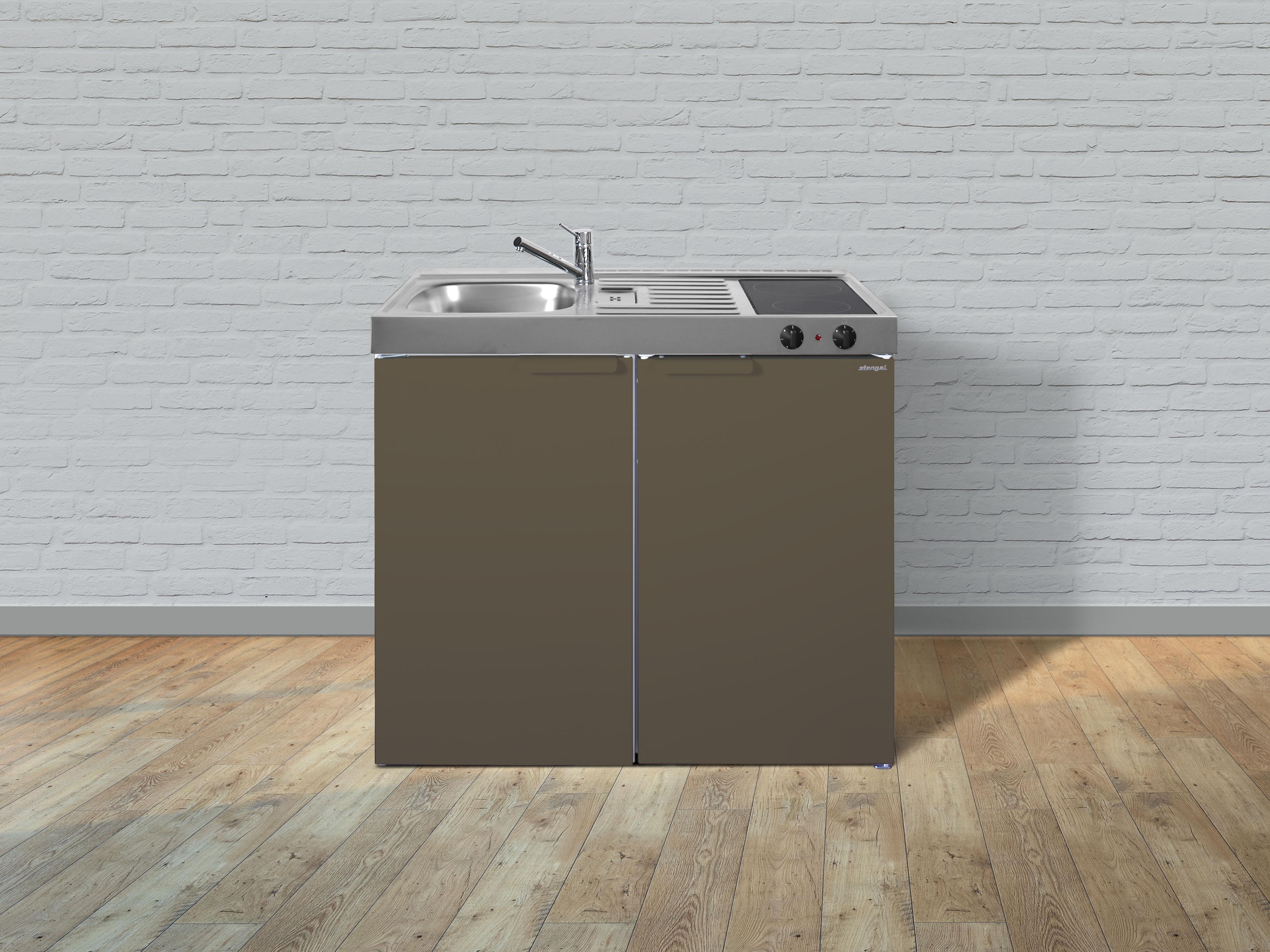 Stengel Mini Single Küche 100cm Metall MK100 Becken rechts braun ohne Kochfeld