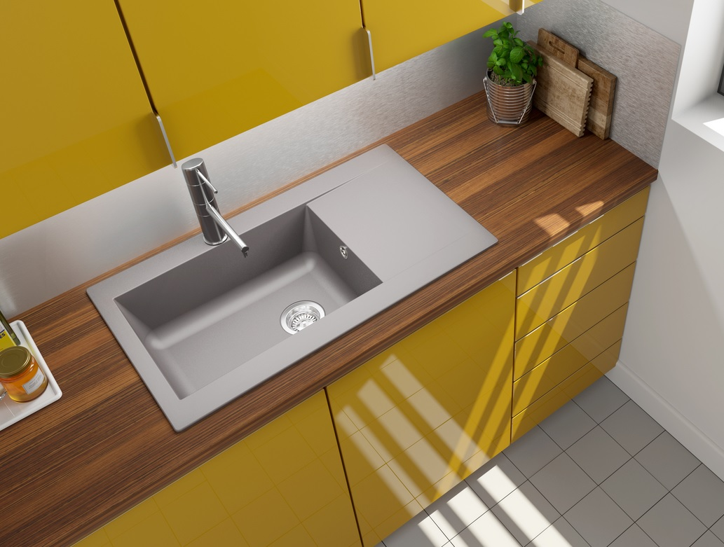 respekta Spüle Küchenspüle Einbauspüle Mineralite Spülbecken 86 x 50 betongrau