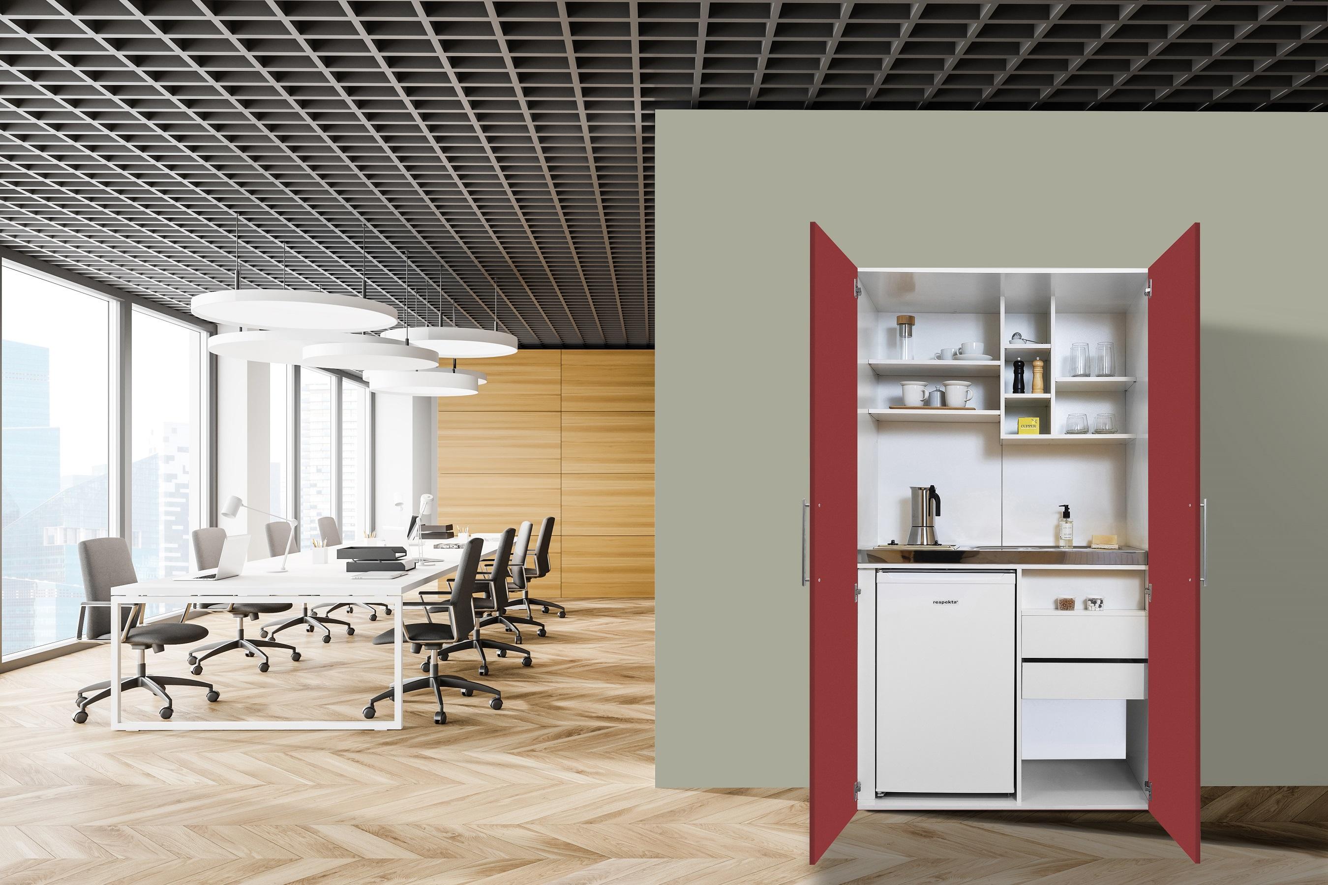 respekta Schrankküche Küche Miniküche Küchenzeile Büro Küchenblock weiß rot