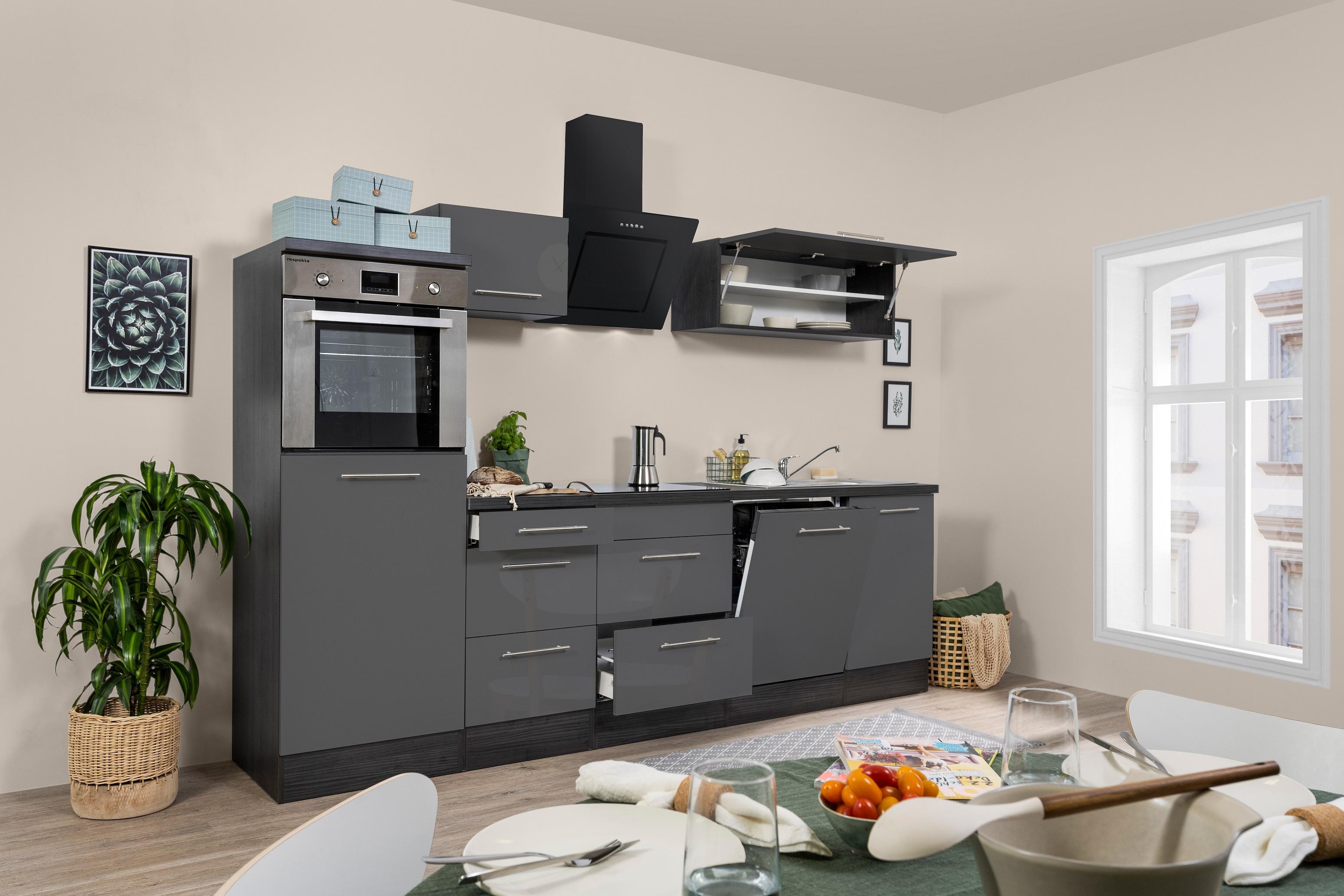 respekta Küchenzeile Küche Küchenblock Einbauküche 280 cm Hochglanz Eiche grau