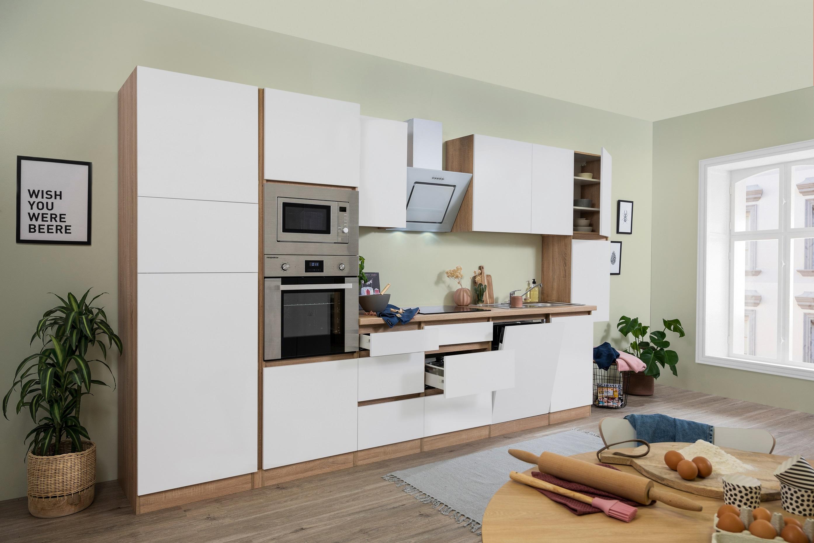 respekta Küchenzeile Küche Küchenblock grifflose Küche 395 cm Eiche Sonoma weiß