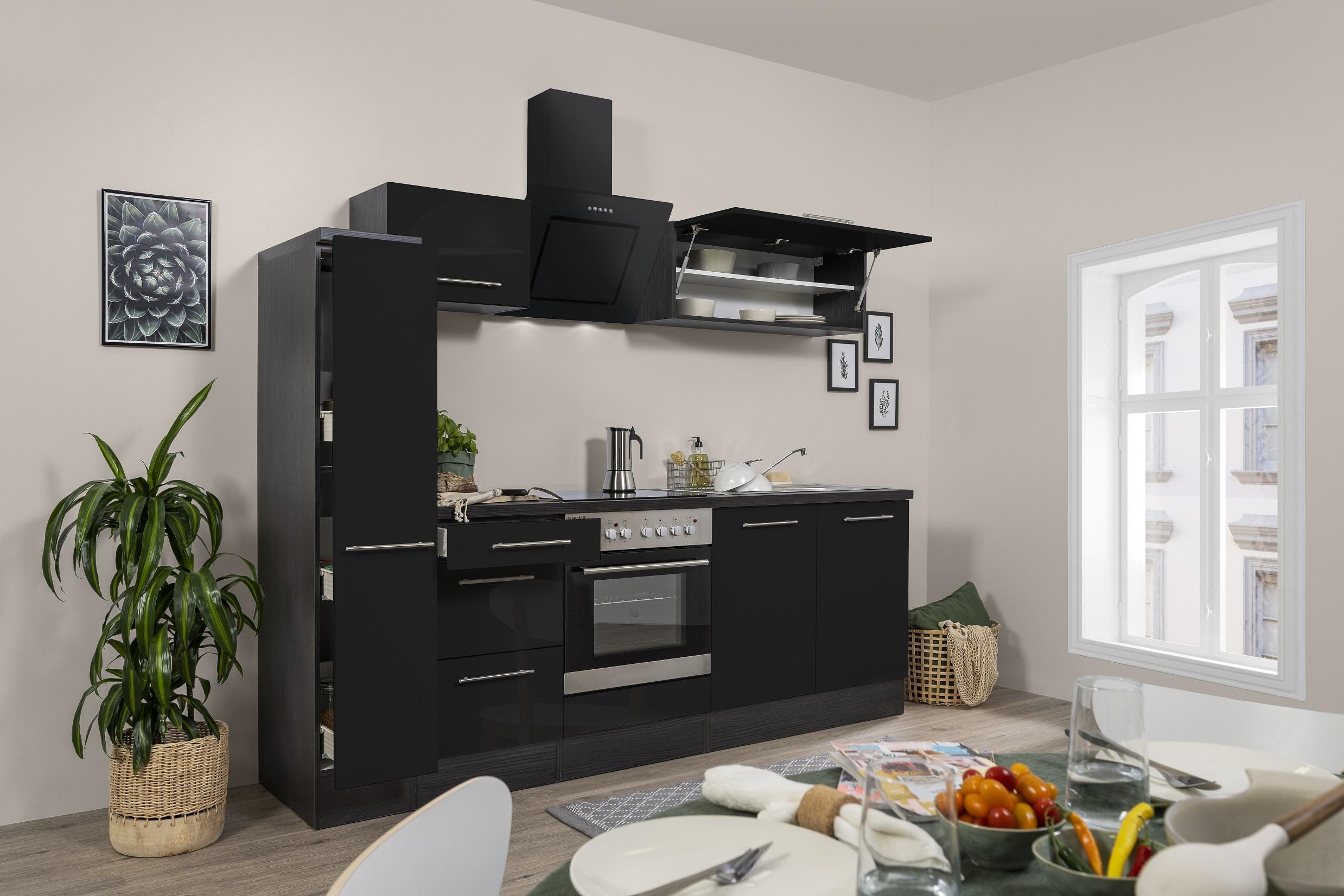respekta Küchenzeile Küche Küchenblock Einbauküche Hochglanz 240cm Eiche schwarz