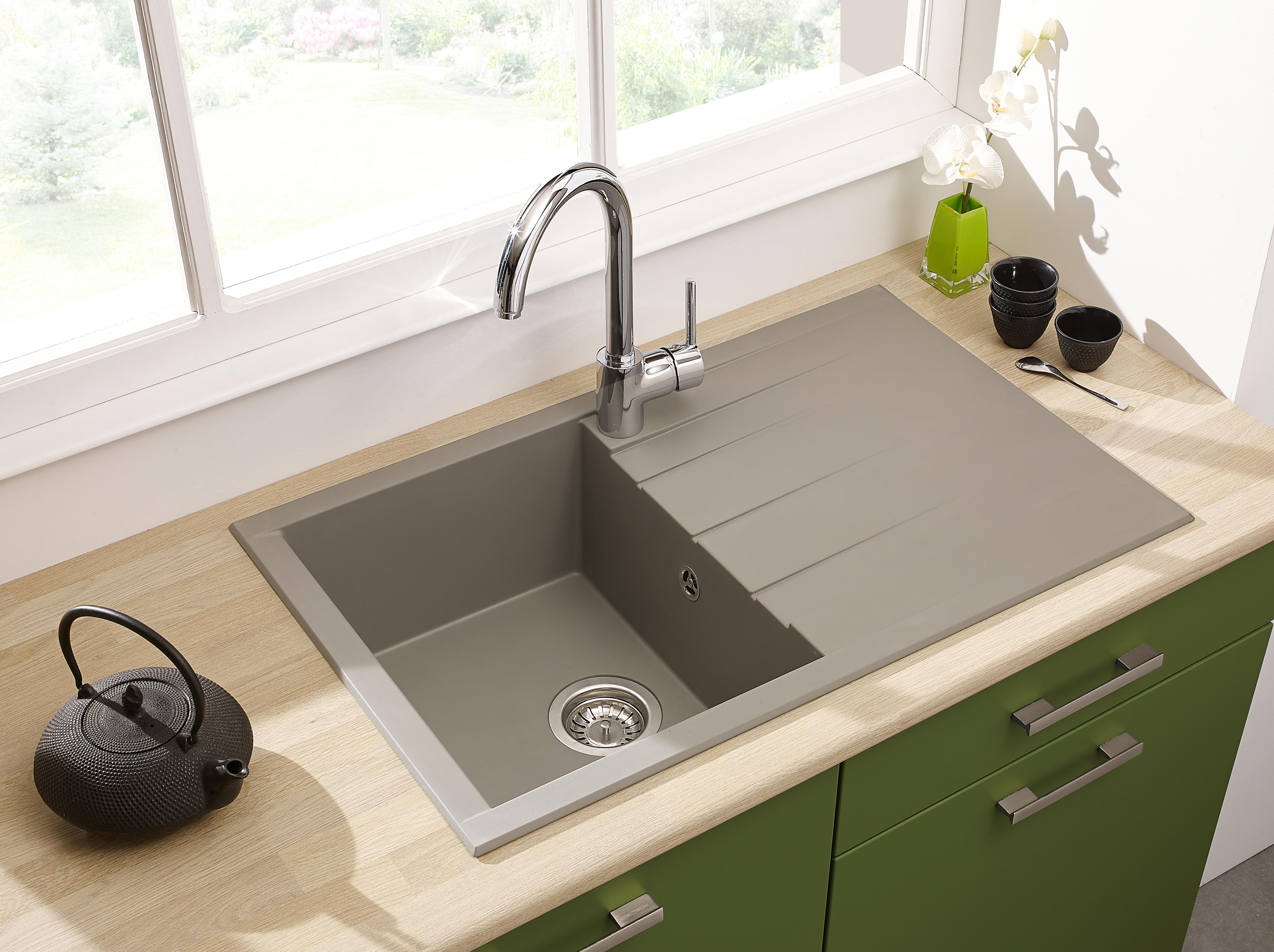Spüle Küchenspüle Einbauspüle Granit Spülbecken Mineralite 80 x 50 grau respekta