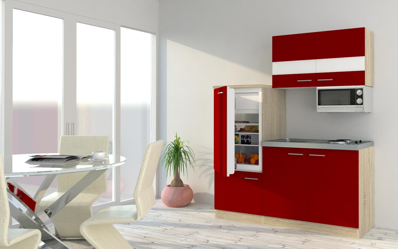 respekta Küchenzeile Küche Singleküche Einbauküche Küchenblock 160 cm Eiche rot