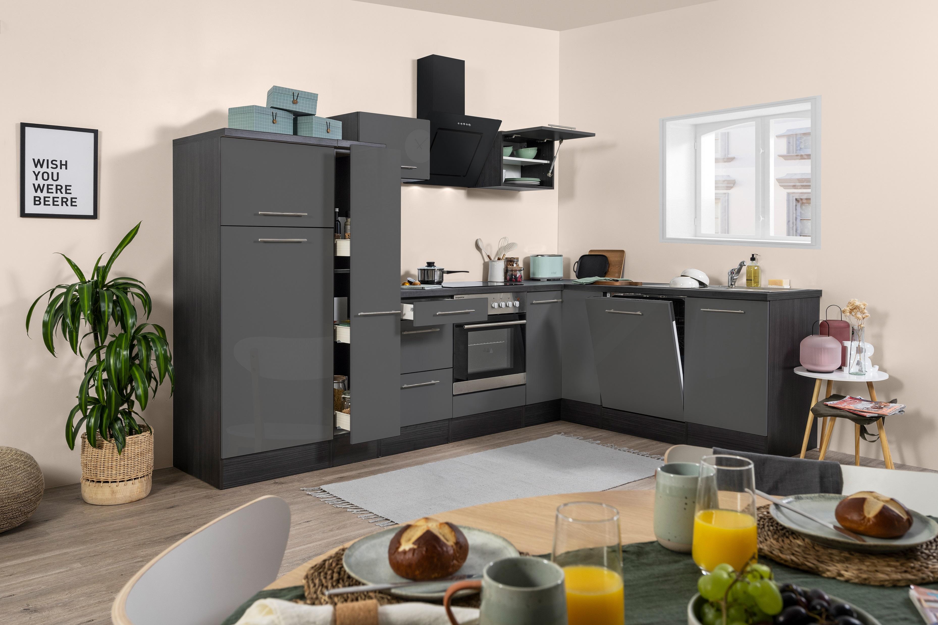 Winkelküche Küchenzeile L-Form Küche Einbauküche Eiche grau 290x200 cm respekta
