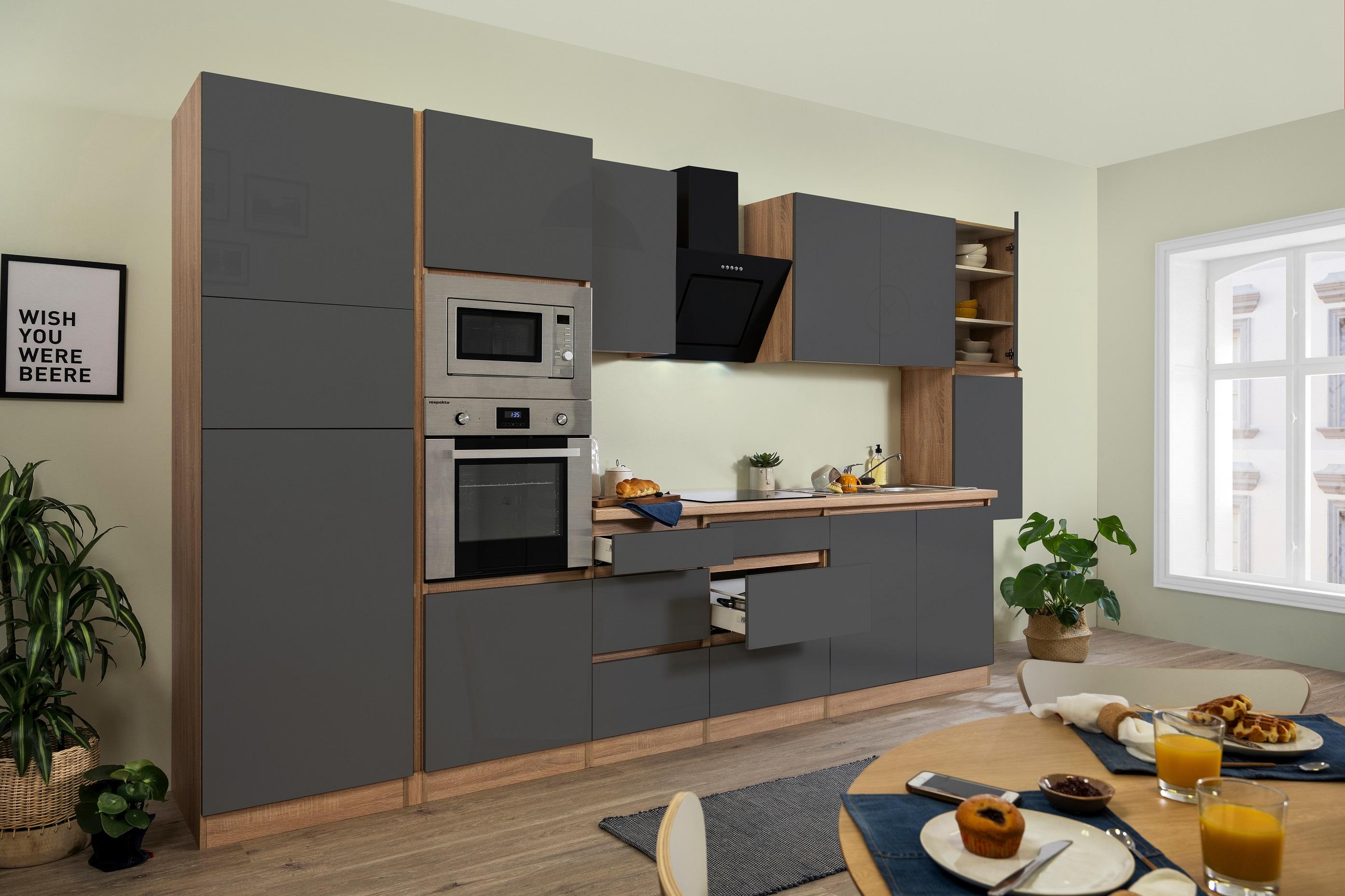 respekta Küche Küchenzeile Küchenblock grifflose Küche 385 cm Eiche Sonoma grau