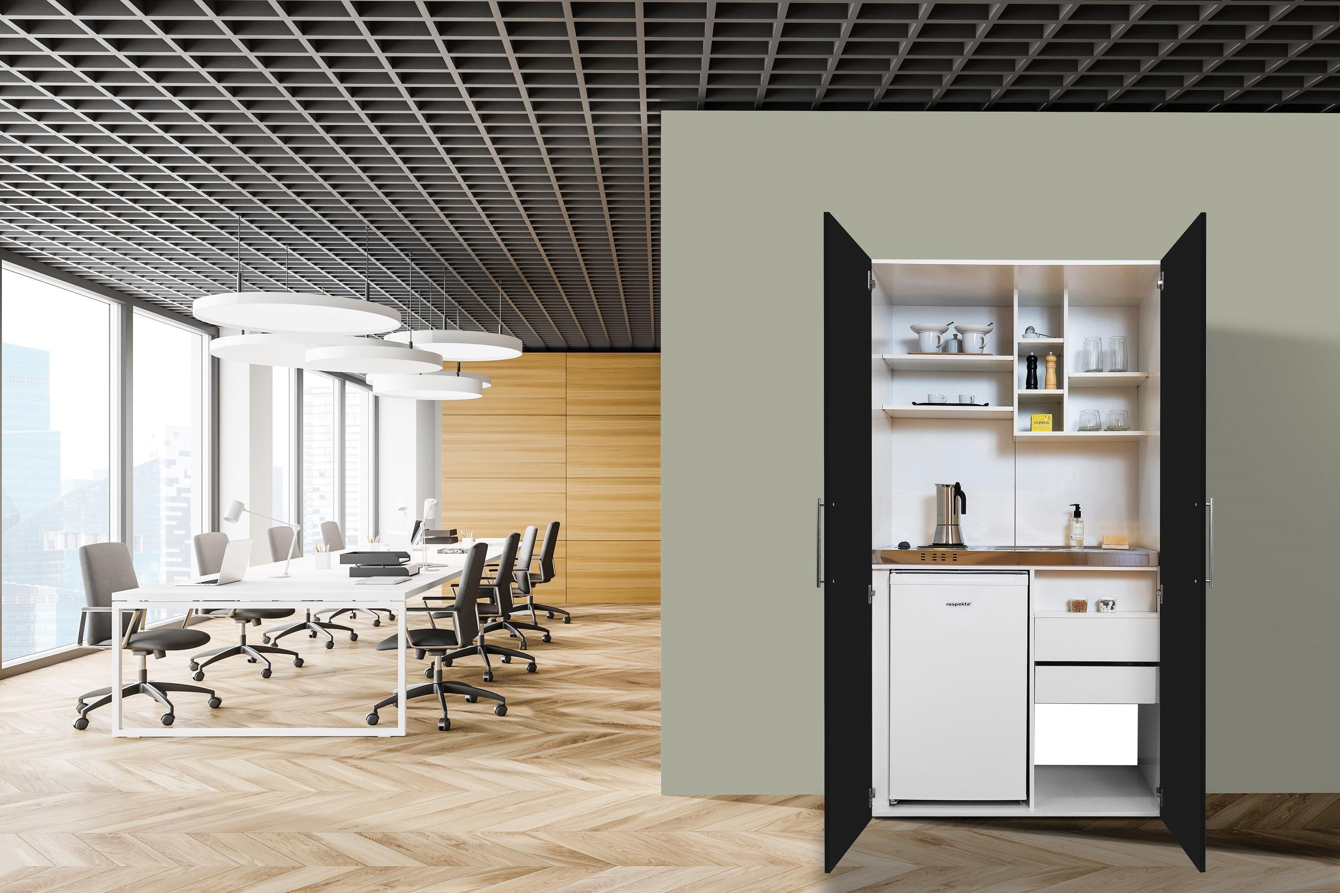 respekta Schrankküche Küche Miniküche Küchenzeile Büro Küchenblock weiß schwarz