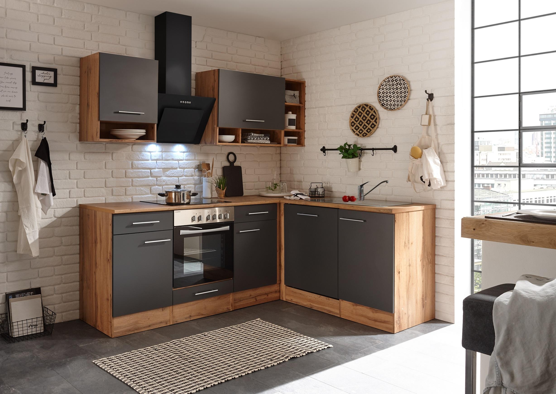 Winkelküche Küchenzeile L-Form Küche Einbauküche Eiche grau 220x172 cm respekta
