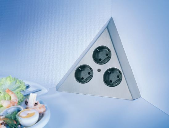 Thebo Dreiecks 3fach Steckdose Edelstahl Ecksteckdose Dreiecks-Energiebox