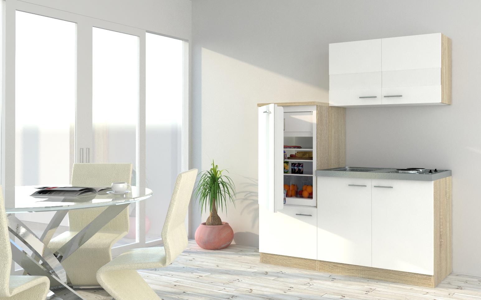 respekta Küchenzeile Küche Singleküche Einbauküche Küchenblock 160 cm Eiche weiß
