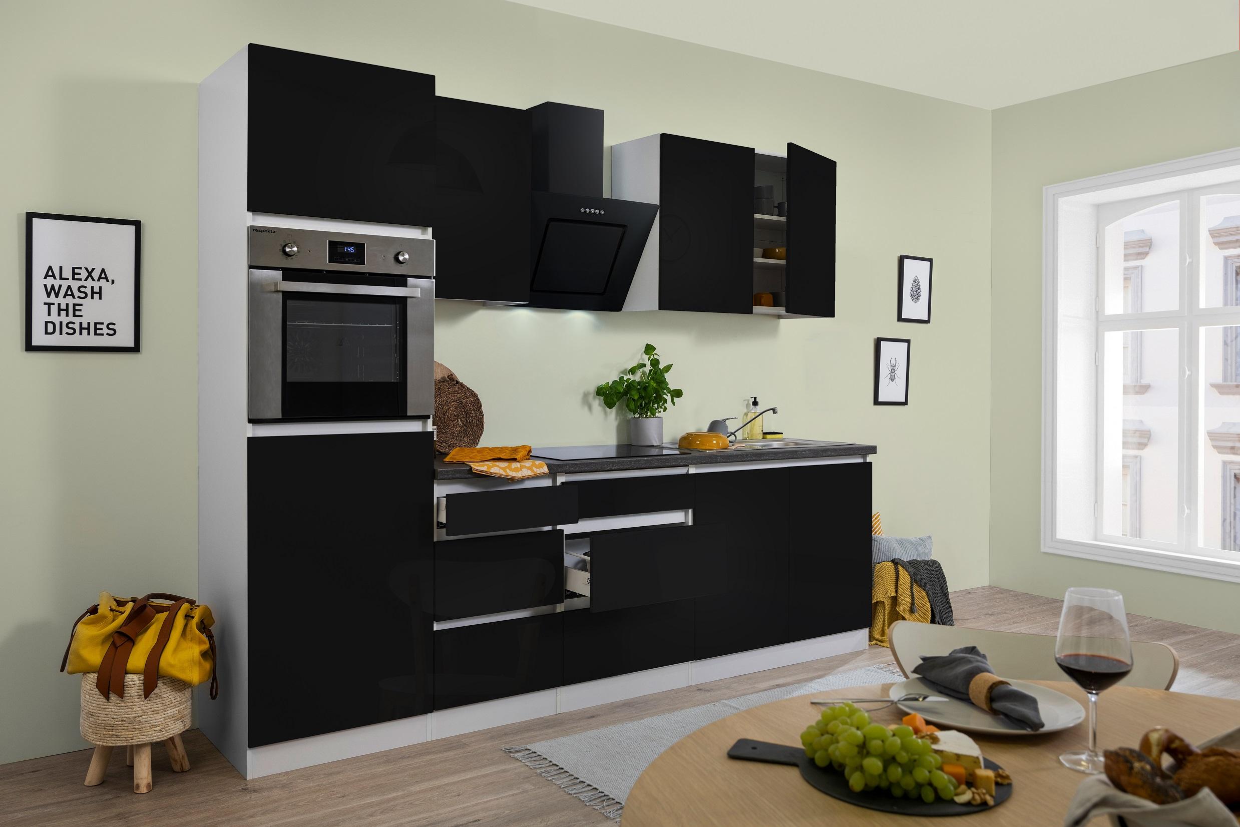 respekta Premium grifflose Küche Leerblock Küchenleerblock 270cm schwarz