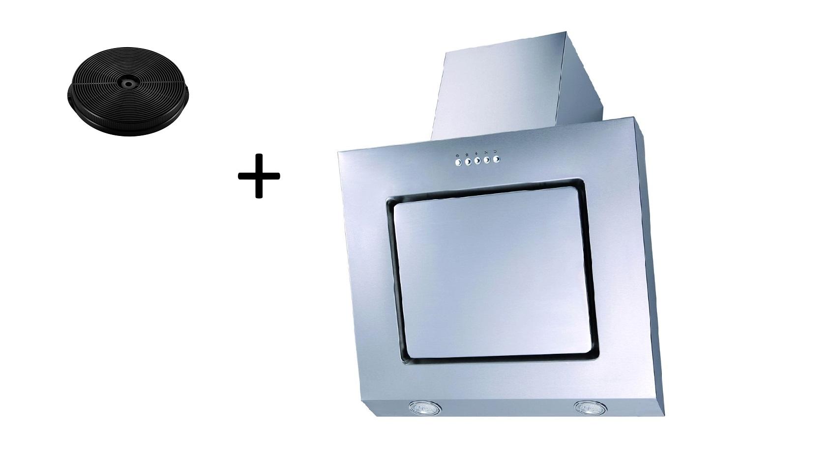 Dunstabzugshaube Schräghaube kopffrei weiß 60 cm LED + Filter Umluftset respekta