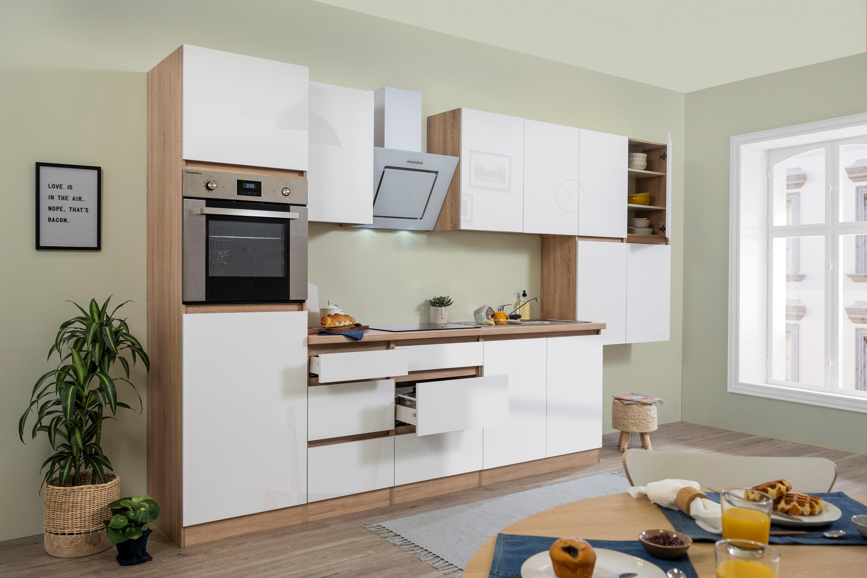 respekta Küche Küchenzeile grifflos Leerblock Einbauküche 370cm Eiche weiß Glanz