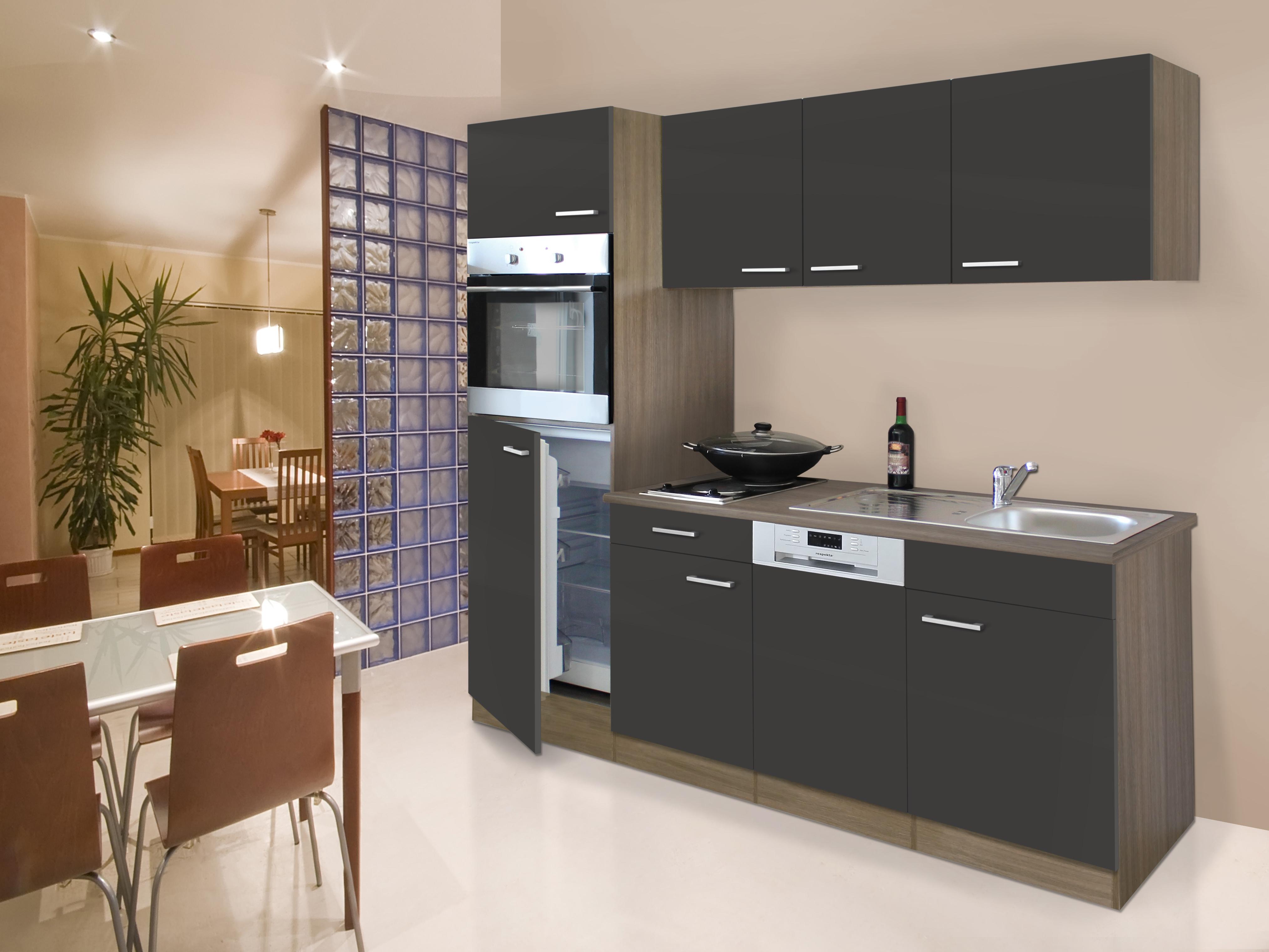 respekta Küche Küchenblock Küchenzeile Einbau Singleküche 205 cm Eiche York grau