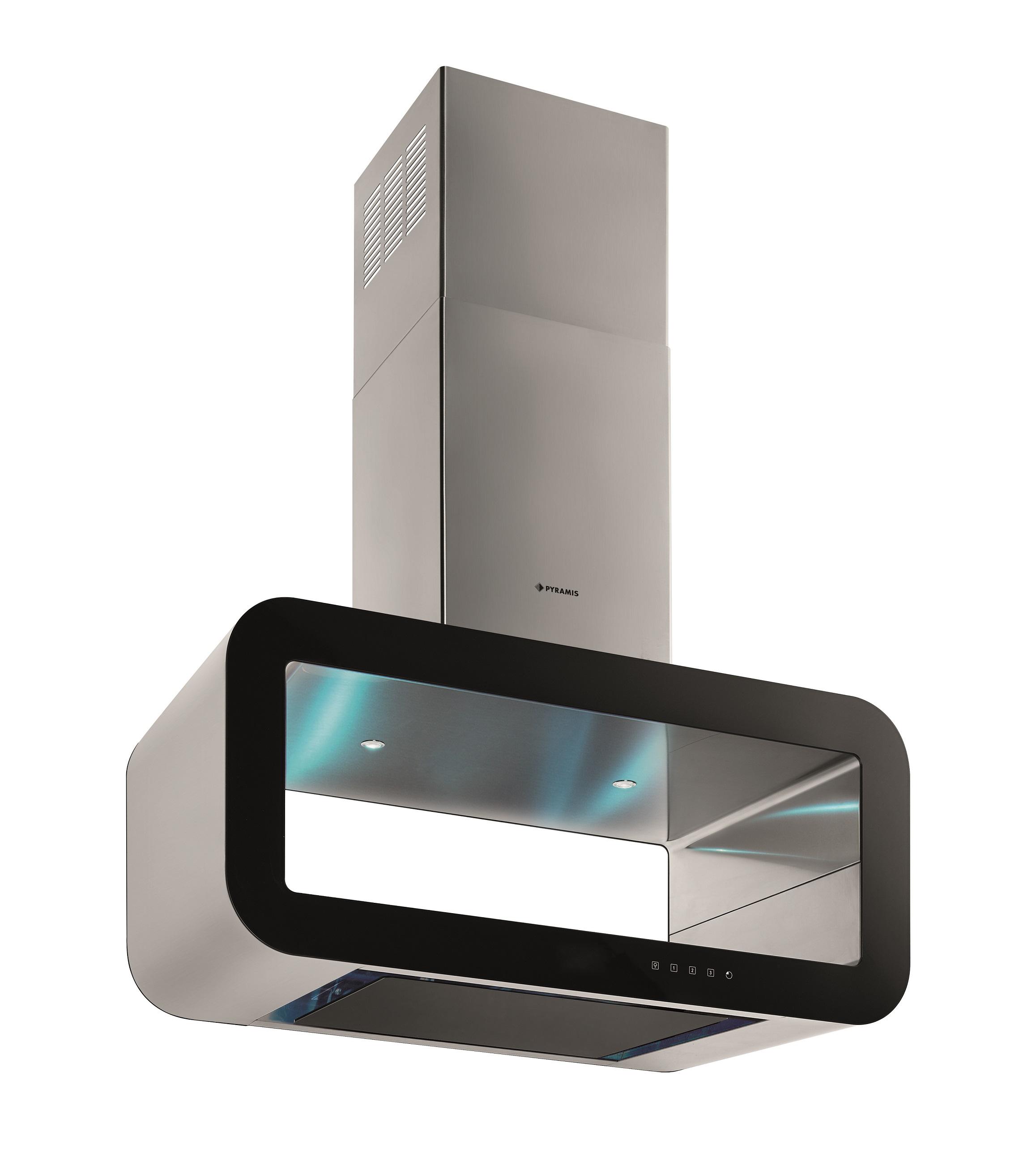 Pyramis Dunstabzugshaube Inselhaube Edelstahl freihängend Glas 90 cm LED Touch
