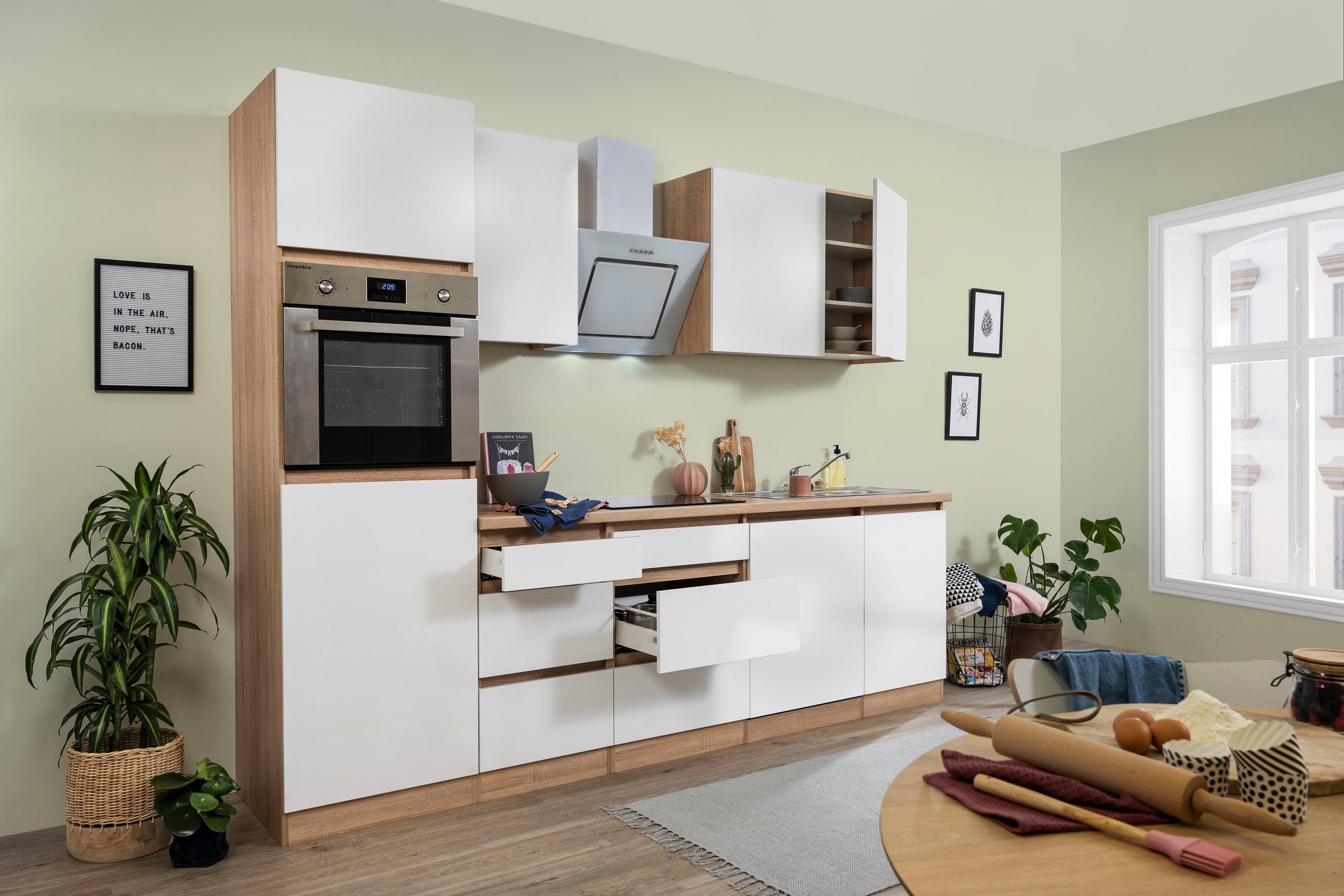 respekta grifflose Küche Leerblock Küchenleerblock 280cm Eiche Sonoma weiß Matt