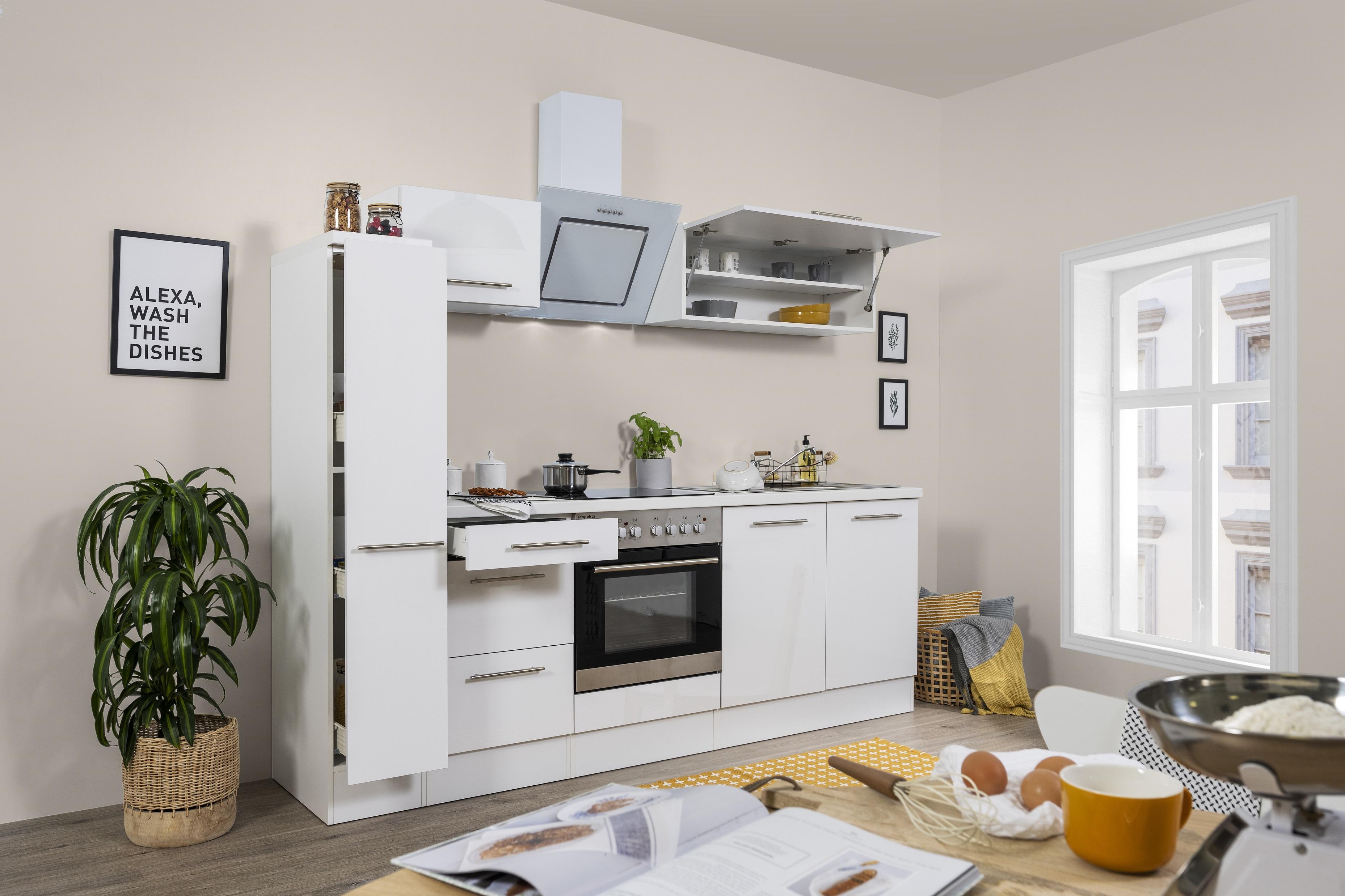 respekta Küchenzeile Küche Küchenblock Einbauküche Hochglanz 240 cm weiß