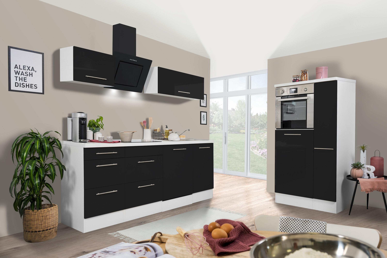 respekta Küchenzeile Küche Küchenblock Einbauküche 310cm Hochglanz weiß schwarz