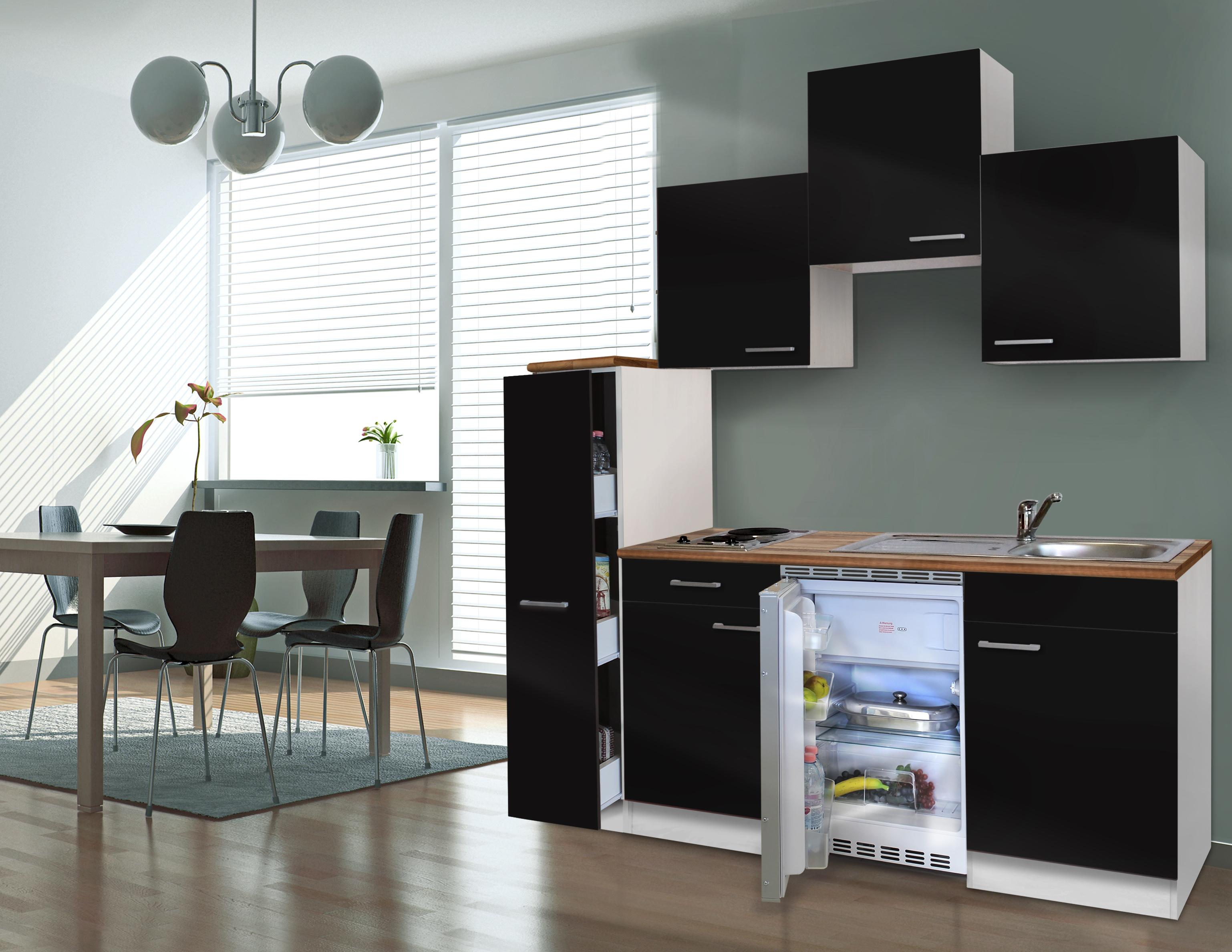 respekta Küche Singleküche Küchenzeile Küchenblock Miniküche 180 cm weiß schwarz