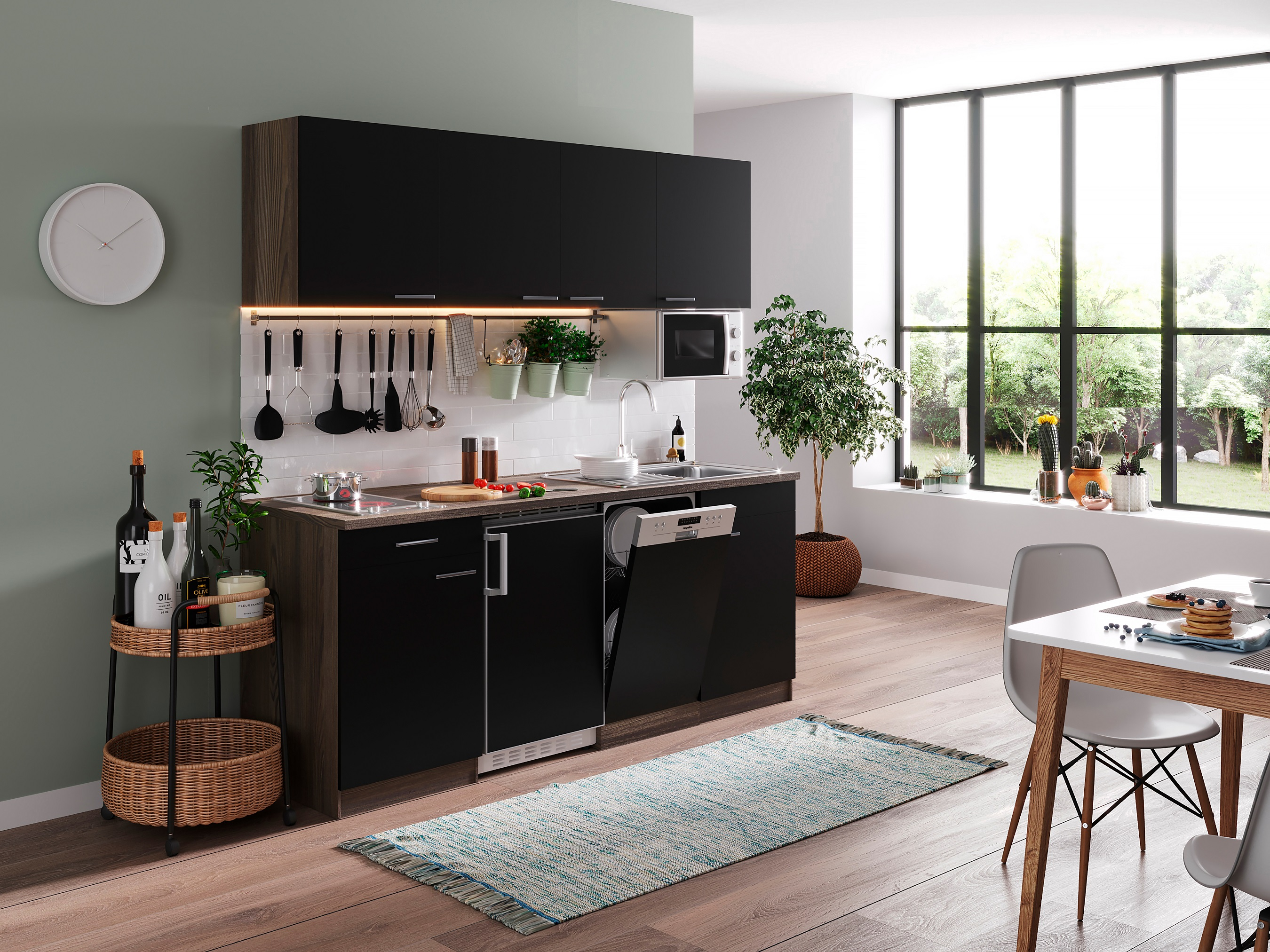 respekta Küche Küchenzeile Küchenblock Einbauküche 195 cm Eiche York schwarz