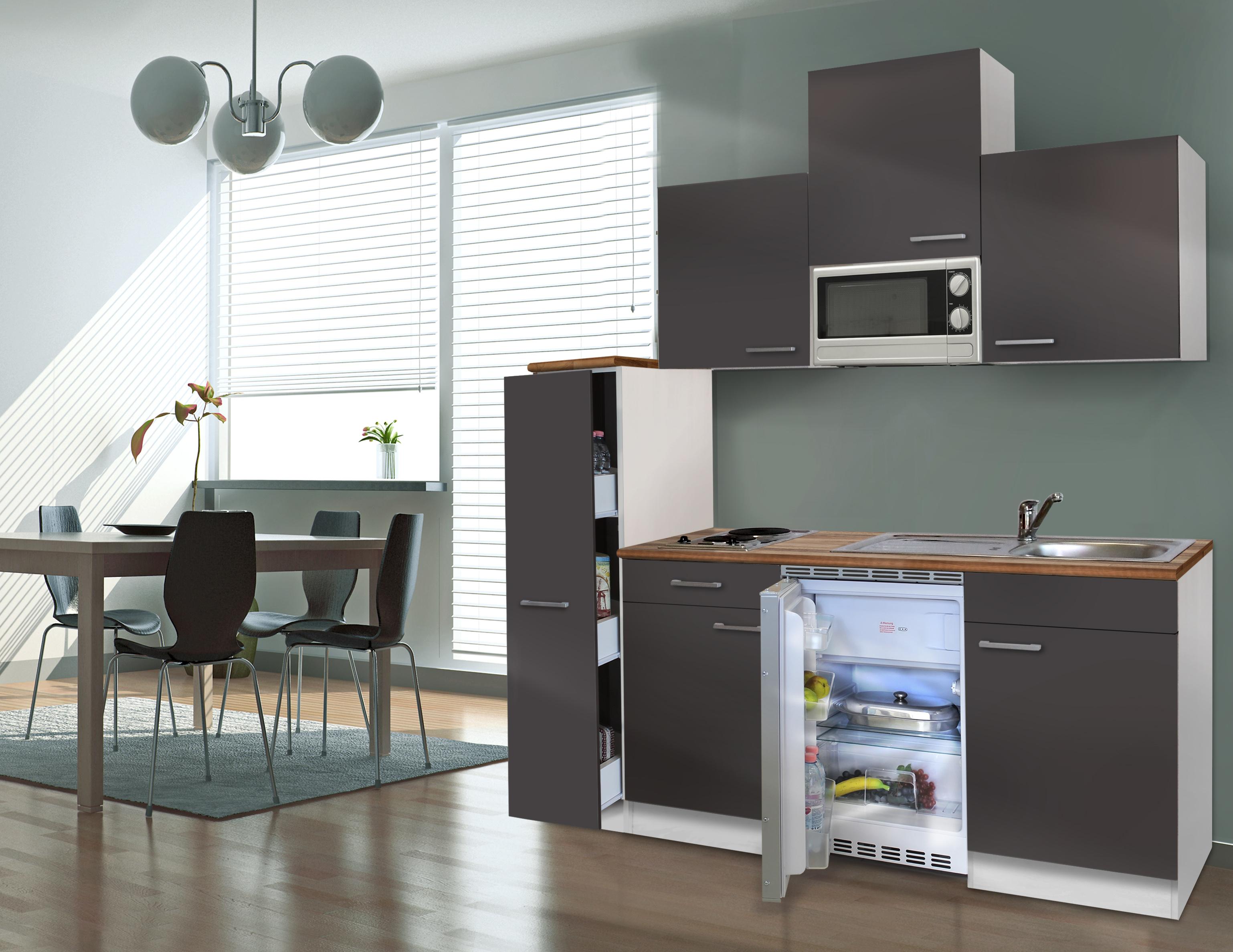 respekta Küche Singleküche Küchenzeile Küchenblock Miniküche 180 cm weiß grau