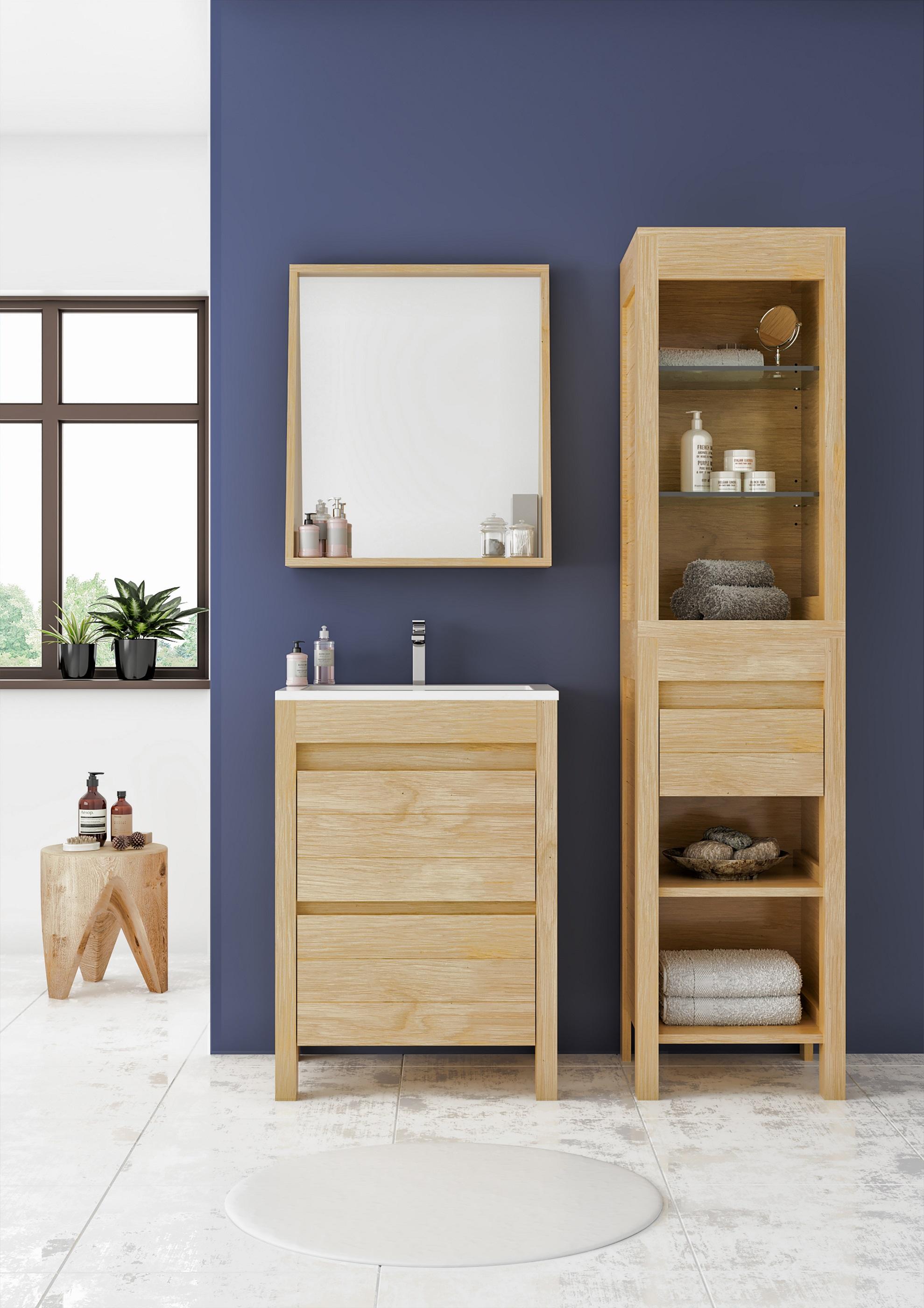Badmöbel Set Unterschrank 60 cm Waschbecken Spiegel vormontiert Eiche ALLIBERT